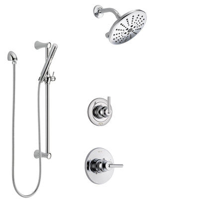 Delta Trinsic Chrome Finish Shower System with Control Handle, 3-Setting Diverter, Showerhead, and Hand Shower with Slidebar SS14598