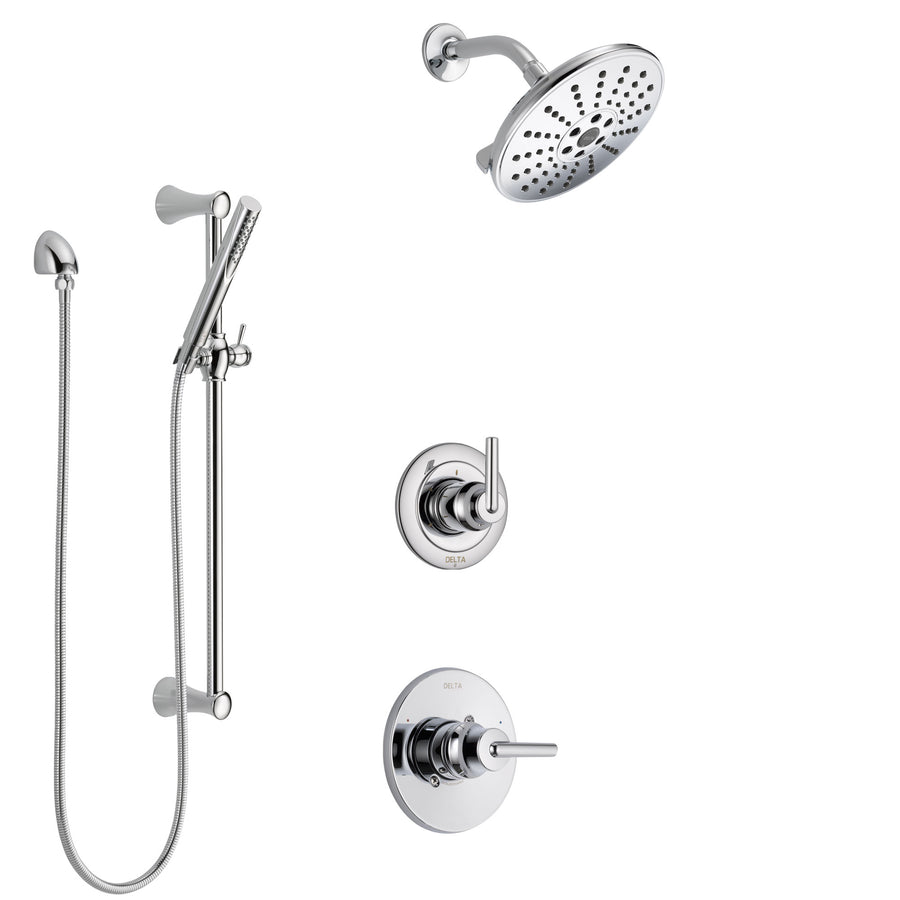 Delta Trinsic Chrome Finish Shower System With Control Handle, 3 Setting  Diverter, Showerhead