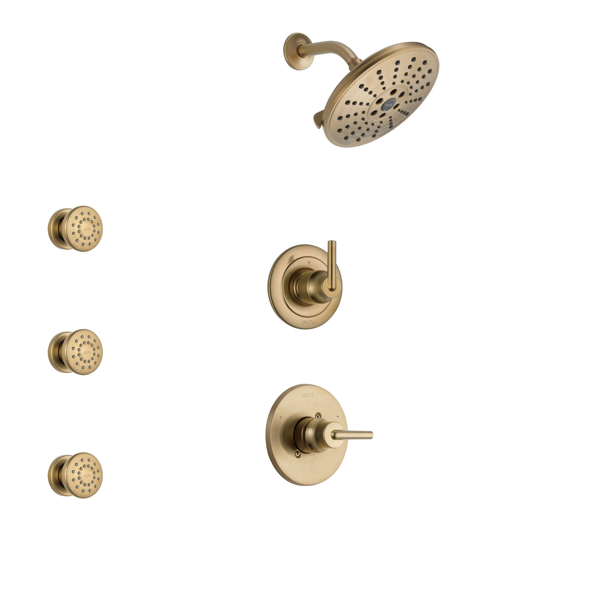 Delta Trinsic Champagne Bronze Finish Shower System with Control Handle, 3-Setting Diverter, Showerhead, and 3 Body Sprays SS1459CZ3