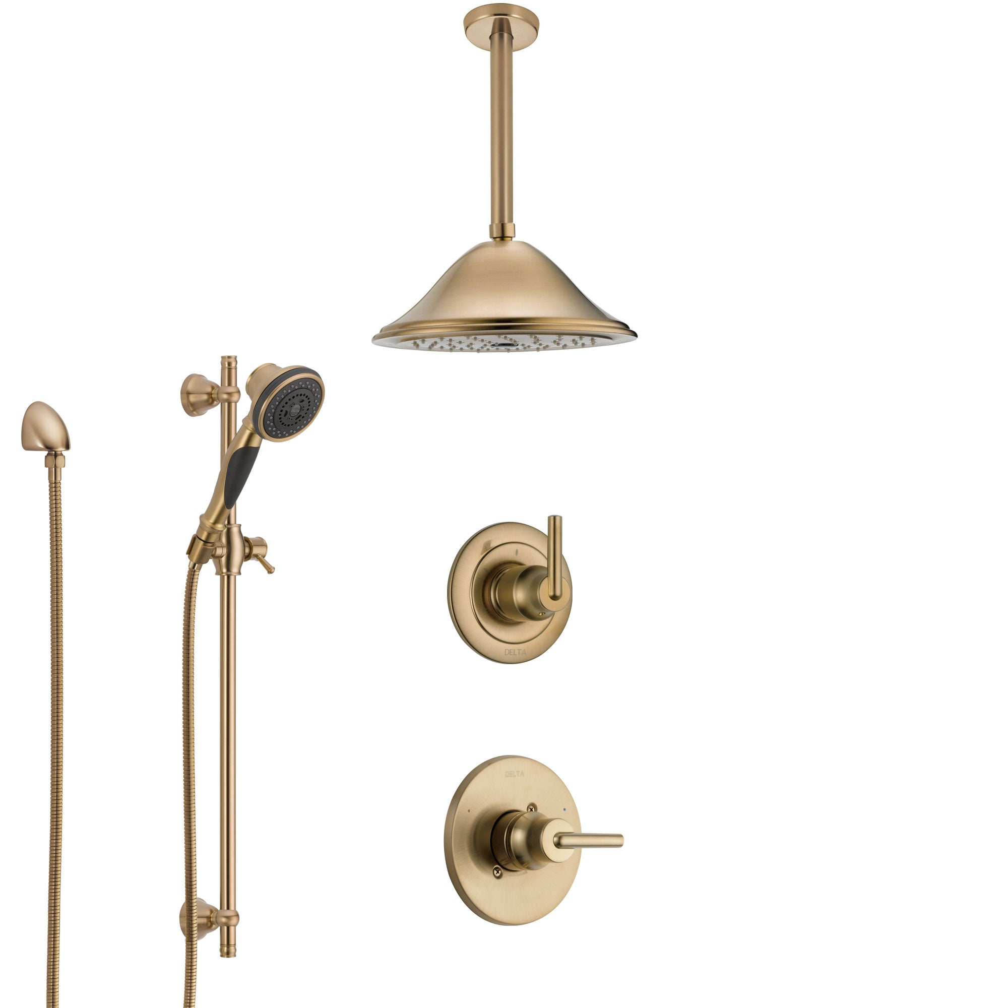 Delta Trinsic Champagne Bronze Shower System with Control Handle, Diverter, Ceiling Mount Showerhead, and Hand Shower with Slidebar SS1459CZ5