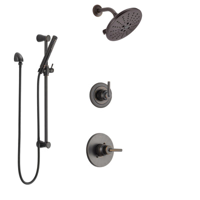 Delta Trinsic Venetian Bronze Finish Shower System with Control Handle, 3-Setting Diverter, Showerhead, and Hand Shower with Slidebar SS1459RB4