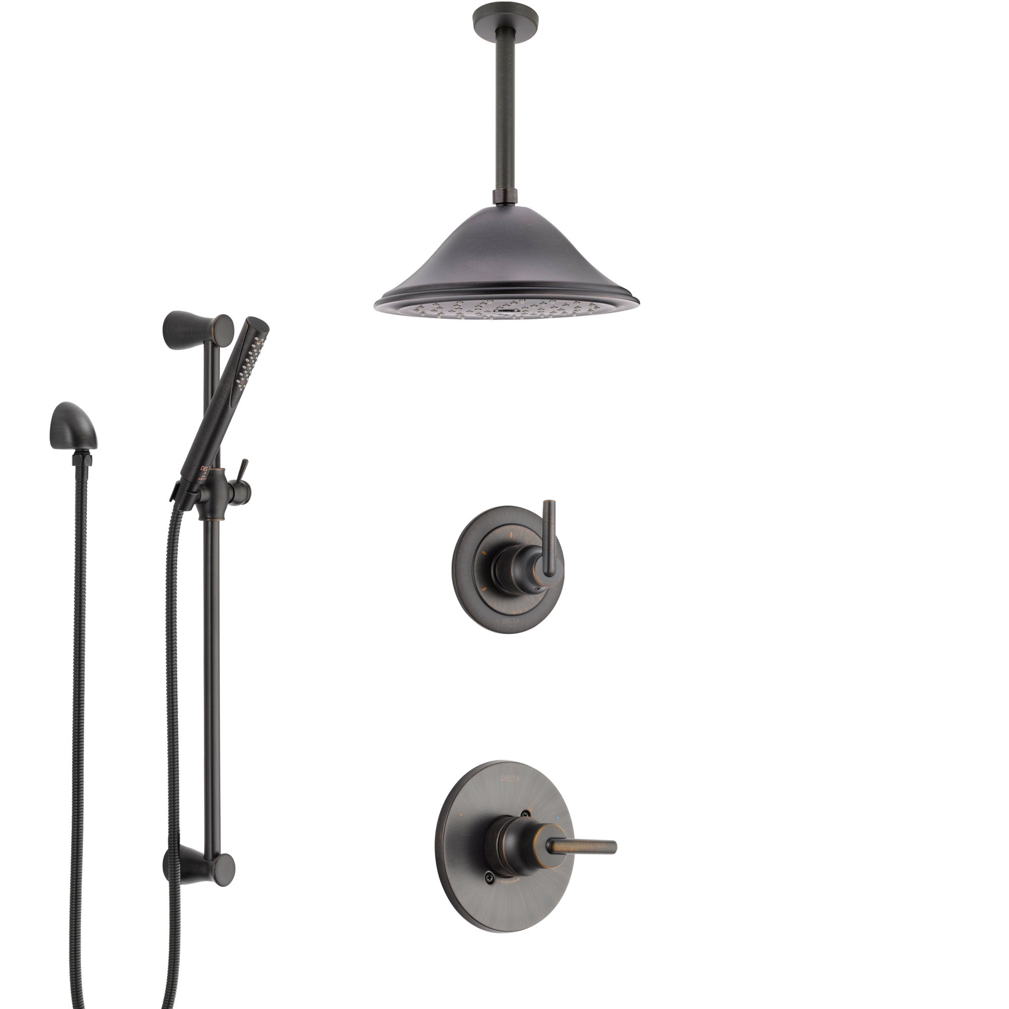 Delta Trinsic Venetian Bronze Shower System with Control Handle, 3-Setting Diverter, Ceiling Mount Showerhead, and Hand Shower with Slidebar SS1459RB7
