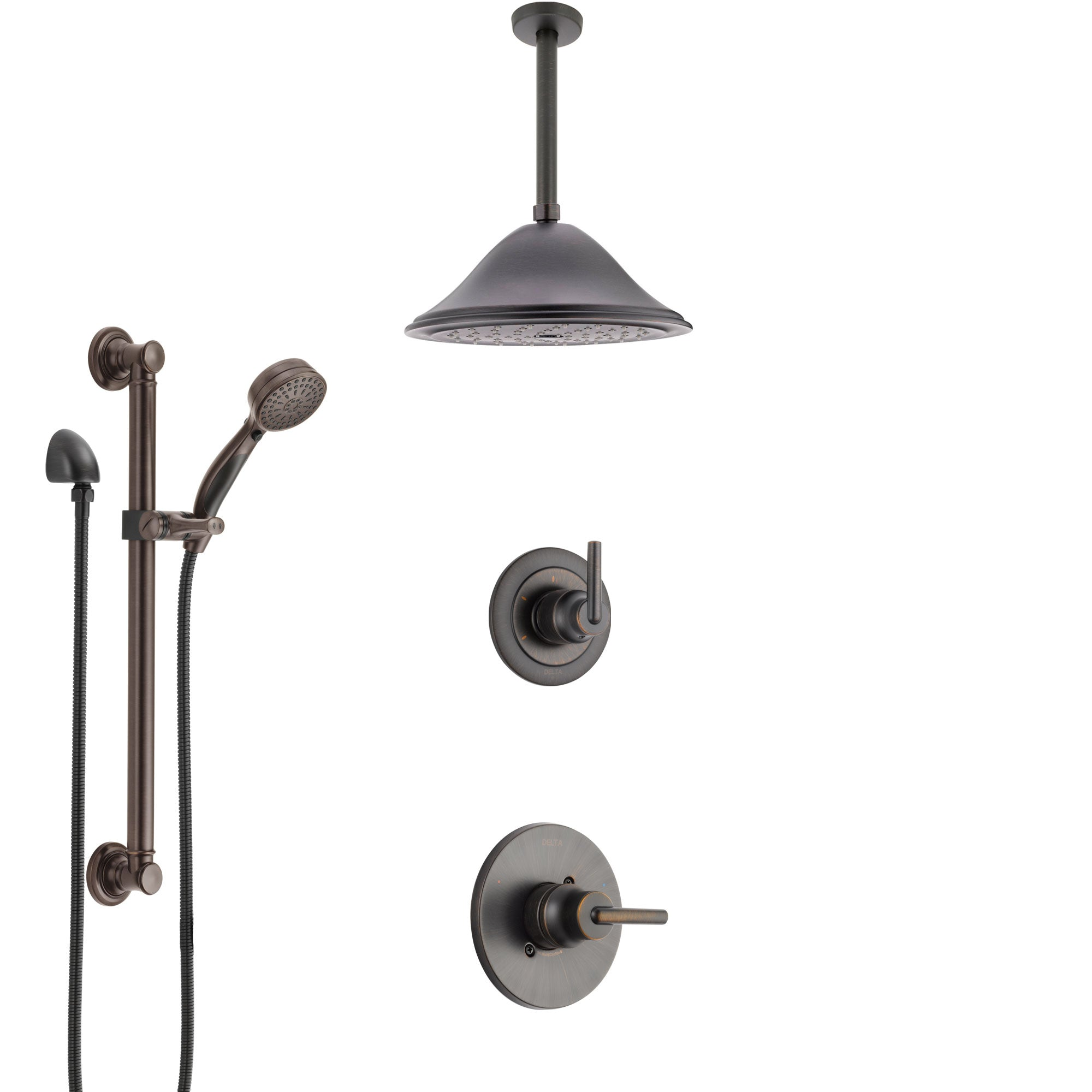Delta Trinsic Venetian Bronze Shower System with Control Handle, 3-Setting Diverter, Ceiling Mount Showerhead, and Hand Shower with Grab Bar SS1459RB8