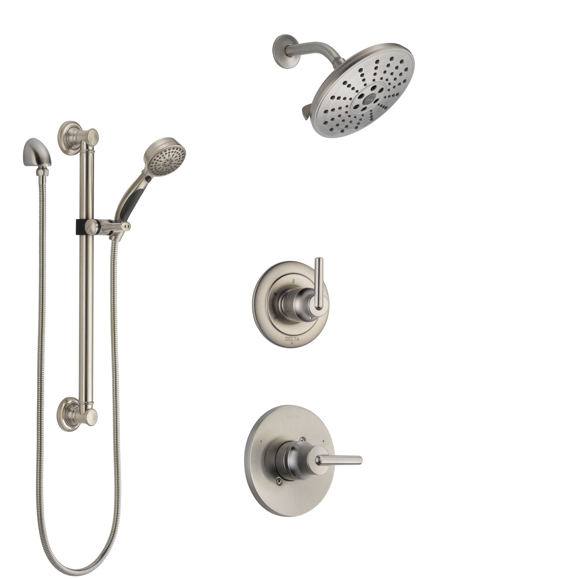 Delta Trinsic Stainless Steel Finish Shower System with Control Handle, 3-Setting Diverter, Showerhead, and Hand Shower with Grab Bar SS1459SS4