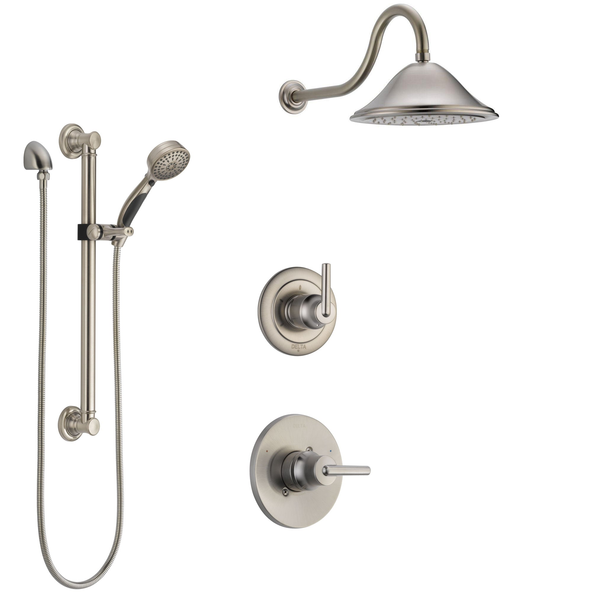 Delta Trinsic Stainless Steel Finish Shower System with Control Handle, 3-Setting Diverter, Showerhead, and Hand Shower with Grab Bar SS1459SS5