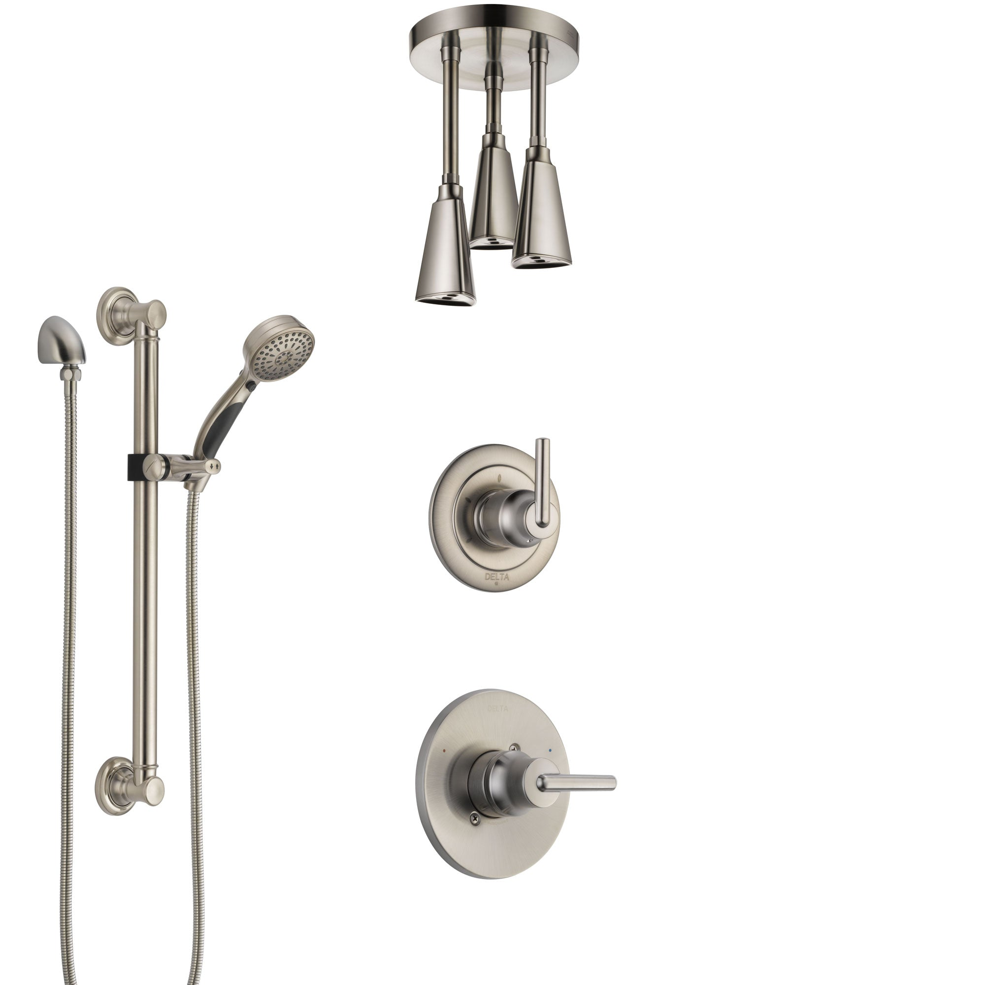 Delta Trinsic Stainless Steel Finish Shower System with Control Handle, Diverter, Ceiling Mount Showerhead, and Hand Shower with Grab Bar SS1459SS6