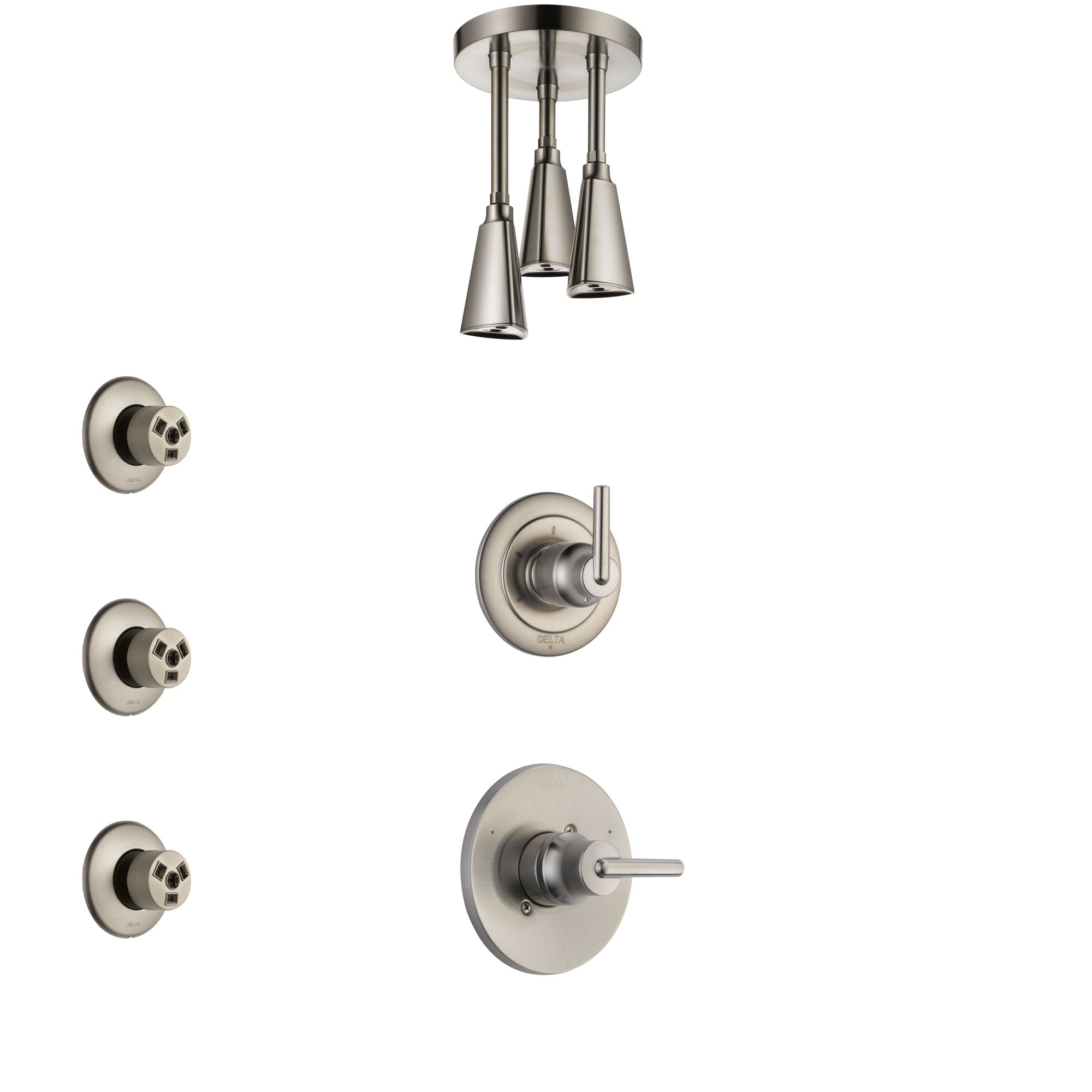 Delta Trinsic Stainless Steel Finish Shower System with Control Handle, 3-Setting Diverter, Ceiling Mount Showerhead, and 3 Body Sprays SS1459SS7