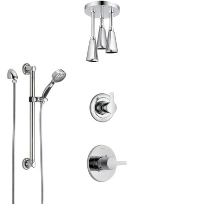 Delta Compel Chrome Finish Shower System with Control Handle, 3-Setting Diverter, Ceiling Mount Showerhead, and Hand Shower with Grab Bar SS14616
