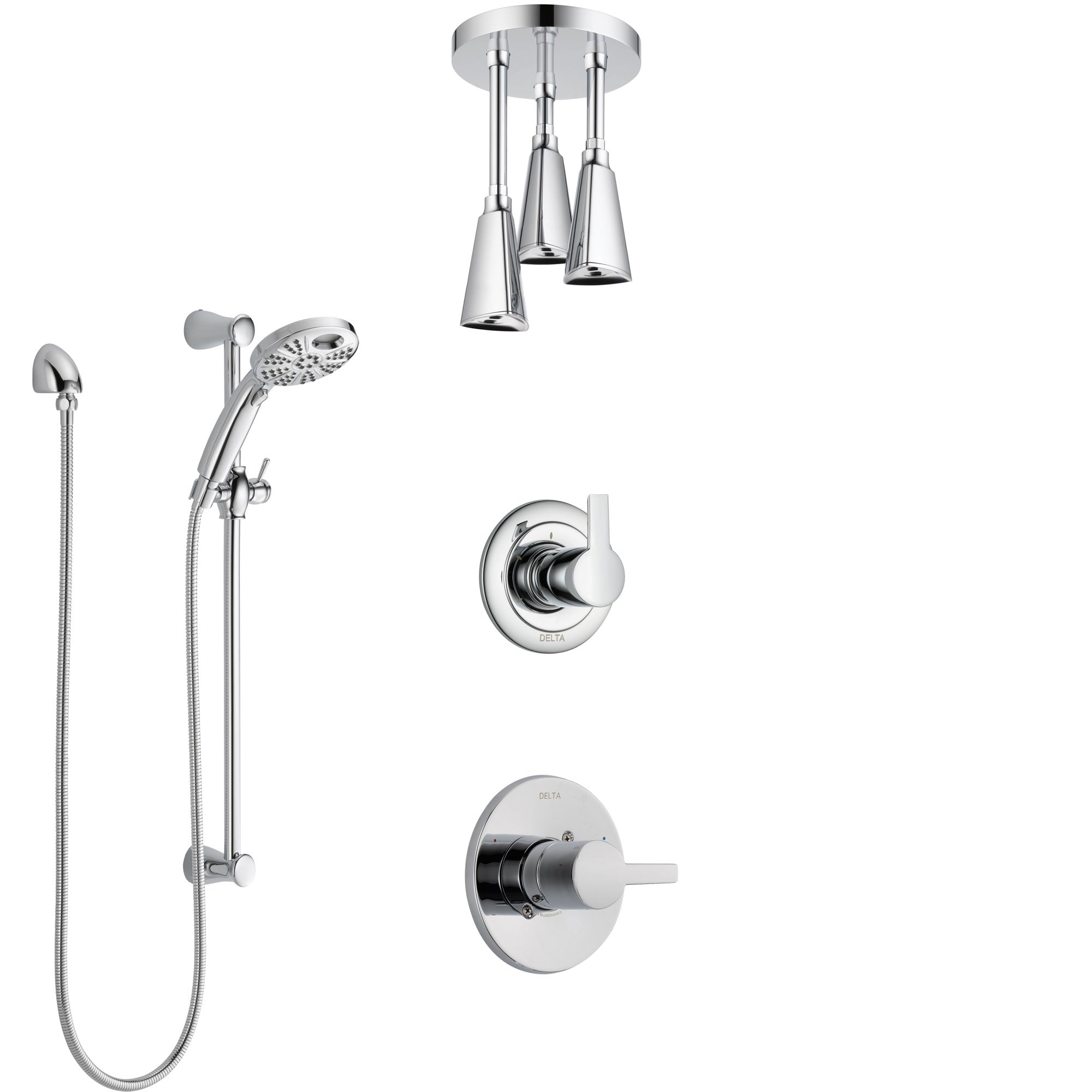 Delta Compel Chrome Finish Shower System with Control Handle, 3-Setting Diverter, Ceiling Mount Showerhead, & Temp2O Hand Shower with Slidebar SS14617