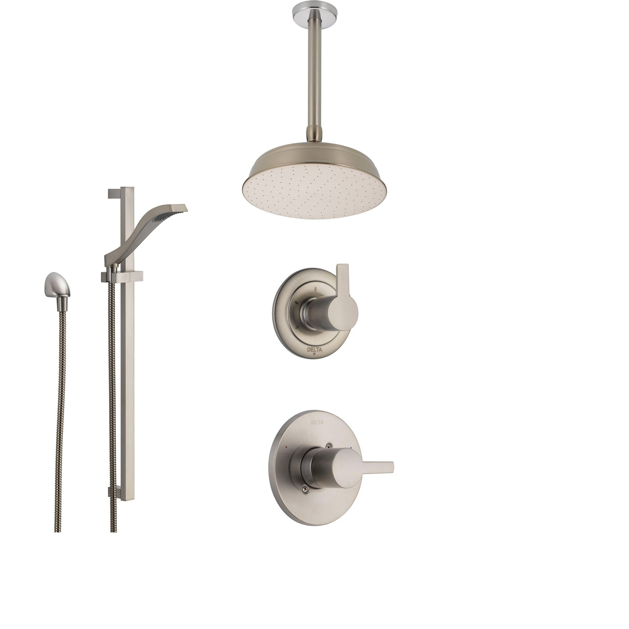 Delta Compel Stainless Steel Shower System with Normal Shower Handle, 3-setting Diverter, Large Round Ceiling Mount Showerhead, and Handheld Shower Spray SS146181SS