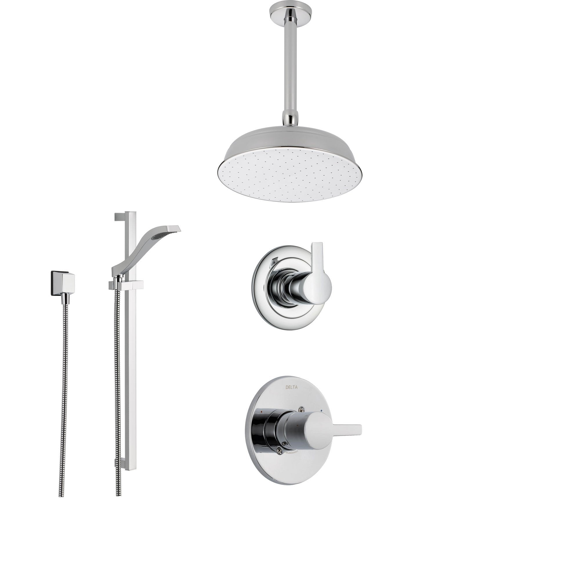 Delta Compel Chrome Shower System with Normal Shower Handle, 3-setting Diverter, Ceiling Mount Large Rain Showerhead, and Handheld Spray SS146181