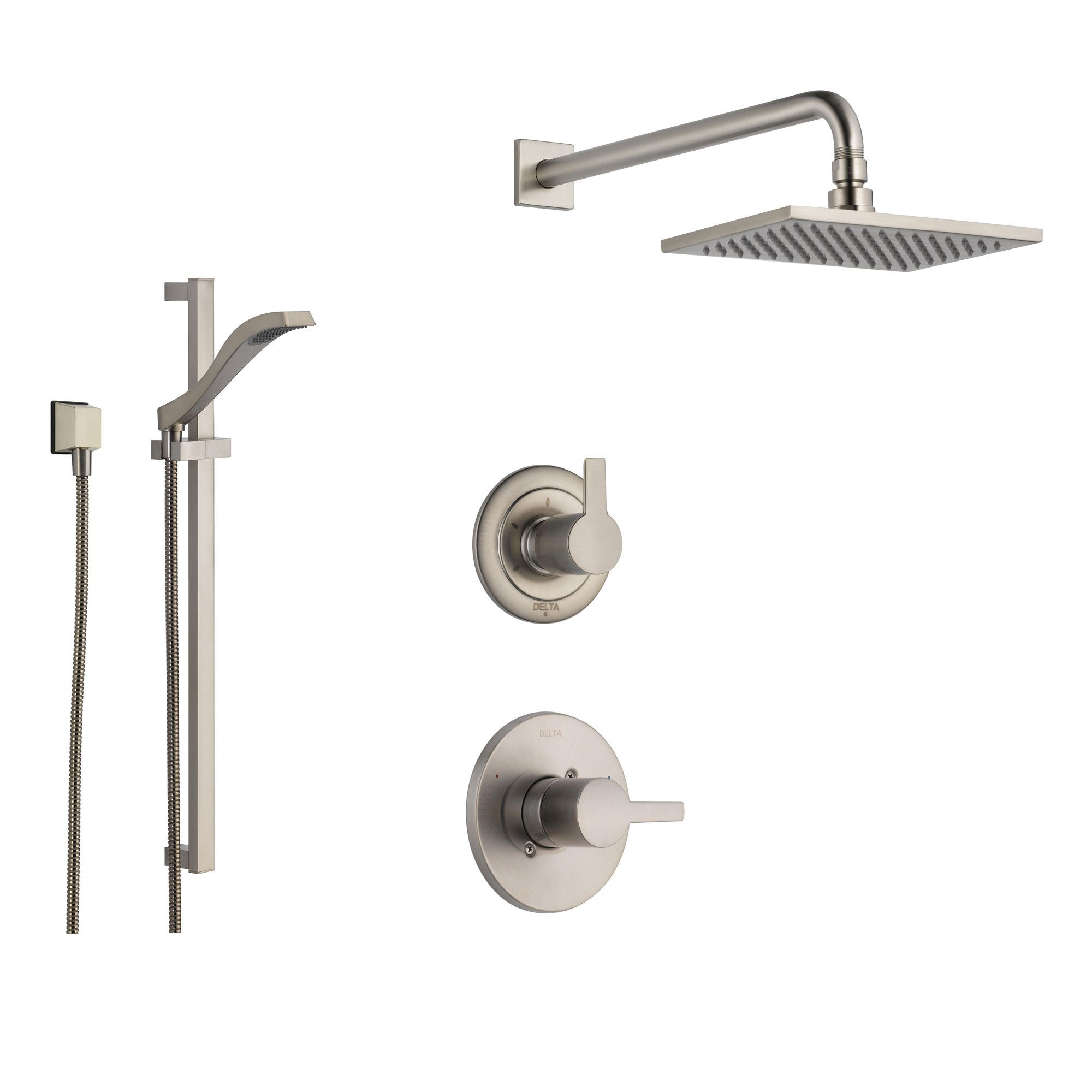 Delta Compel Stainless Steel Shower System with Normal Shower Handle, 3-setting Diverter, Large Square Rain Showerhead, and Handheld Shower SS146182SS