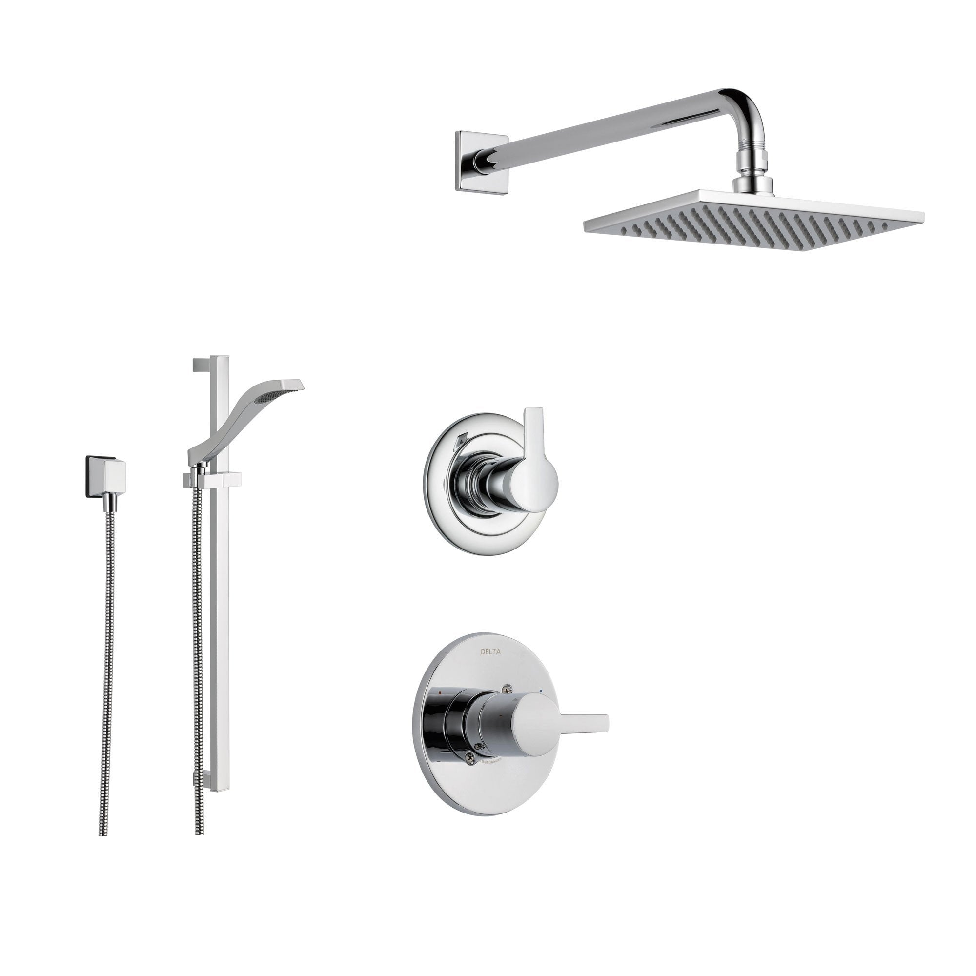 Delta Compel Chrome Shower System with Normal Shower Handle, 3-setting Diverter, Square Rain Showerhead, and Handheld Shower SS146182