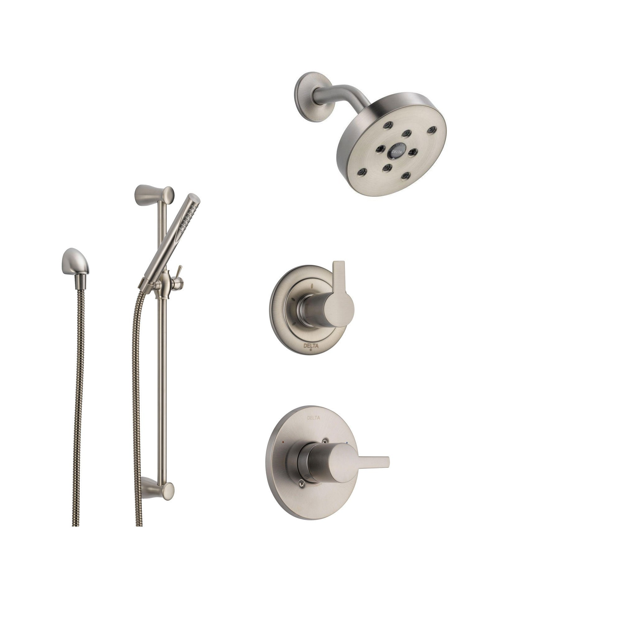 Delta Compel Stainless Steel Shower System with Normal Shower Handle, 3-setting Diverter, Modern Round Showerhead, and Handheld Shower Stick SS146184SS