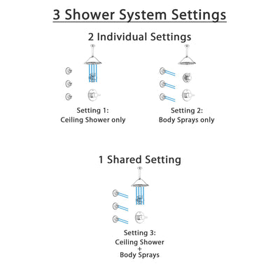 Delta Compel Chrome Finish Shower System with Control Handle, 3-Setting Diverter, Ceiling Mount Showerhead, and 3 Body Sprays SS14618