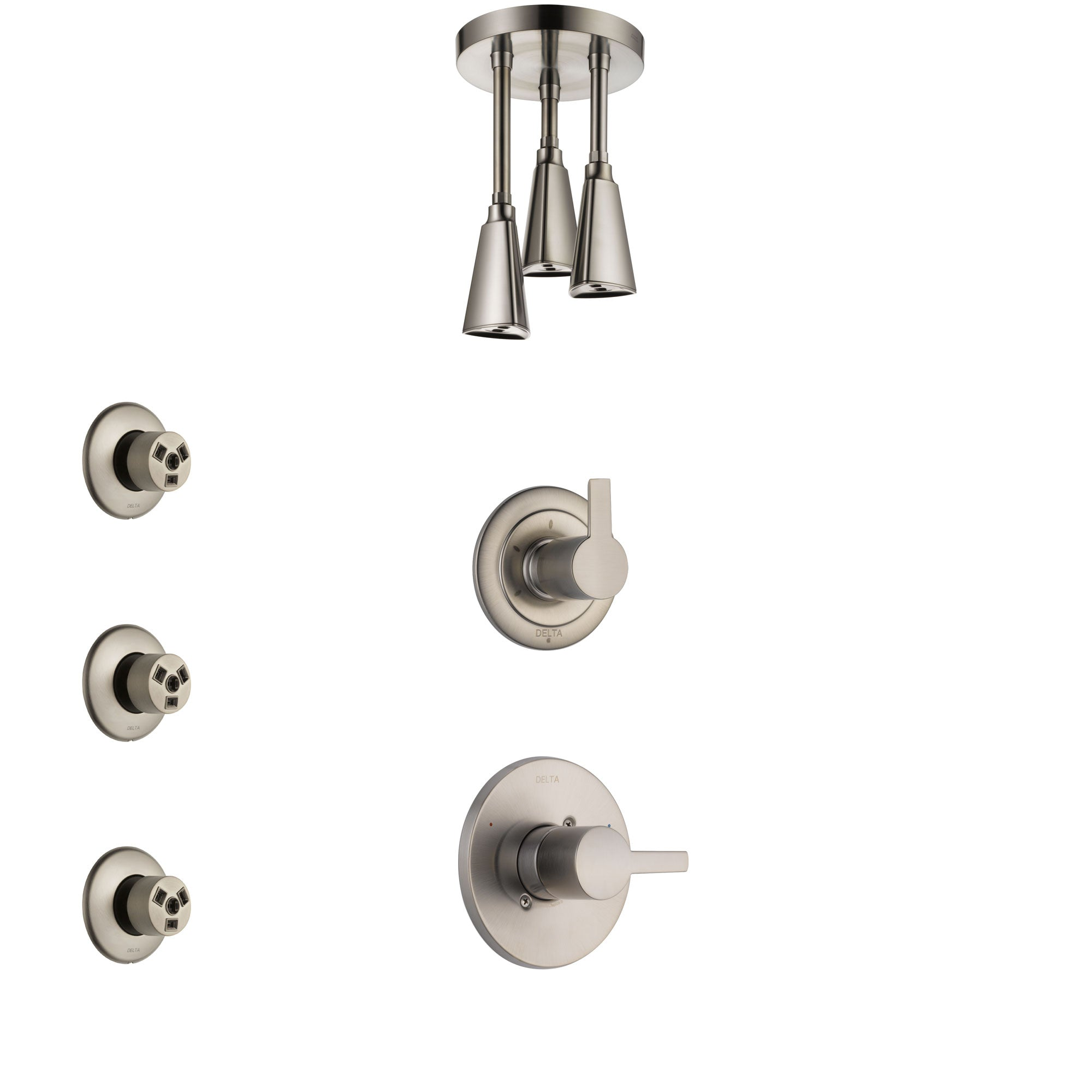 Delta Compel Stainless Steel Finish Shower System with Control Handle, 3-Setting Diverter, Ceiling Mount Showerhead, and 3 Body Sprays SS1461SS2