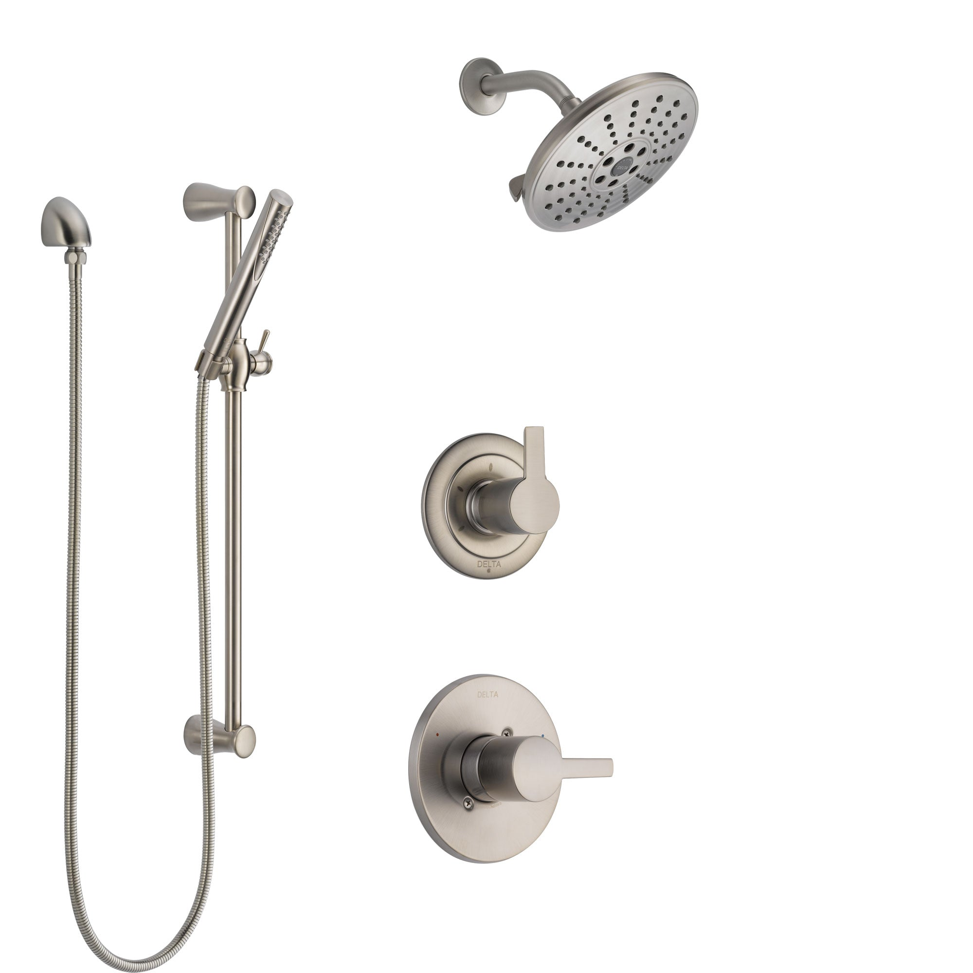 Delta Compel Stainless Steel Finish Shower System with Control Handle, 3-Setting Diverter, Showerhead, and Hand Shower with Slidebar SS1461SS8