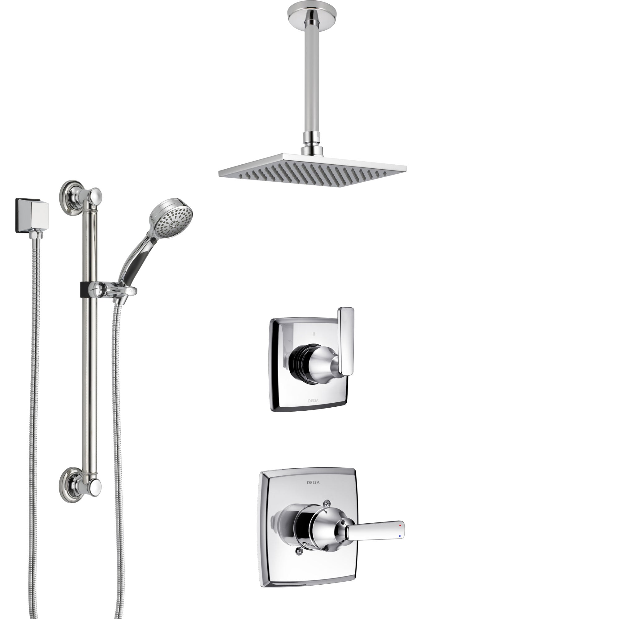 Delta Ashlyn Chrome Finish Shower System with Control Handle, 3-Setting Diverter, Ceiling Mount Showerhead, and Hand Shower with Grab Bar SS14641