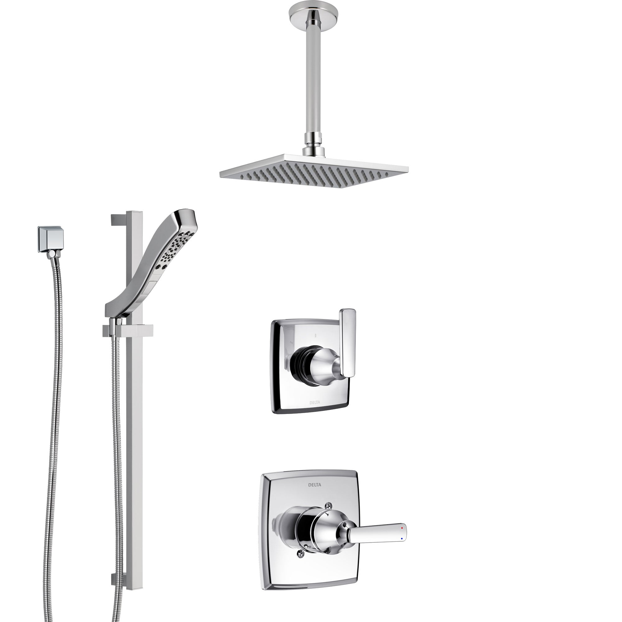 Delta Ashlyn Chrome Finish Shower System with Control Handle, 3-Setting Diverter, Ceiling Mount Showerhead, and Hand Shower with Slidebar SS14642