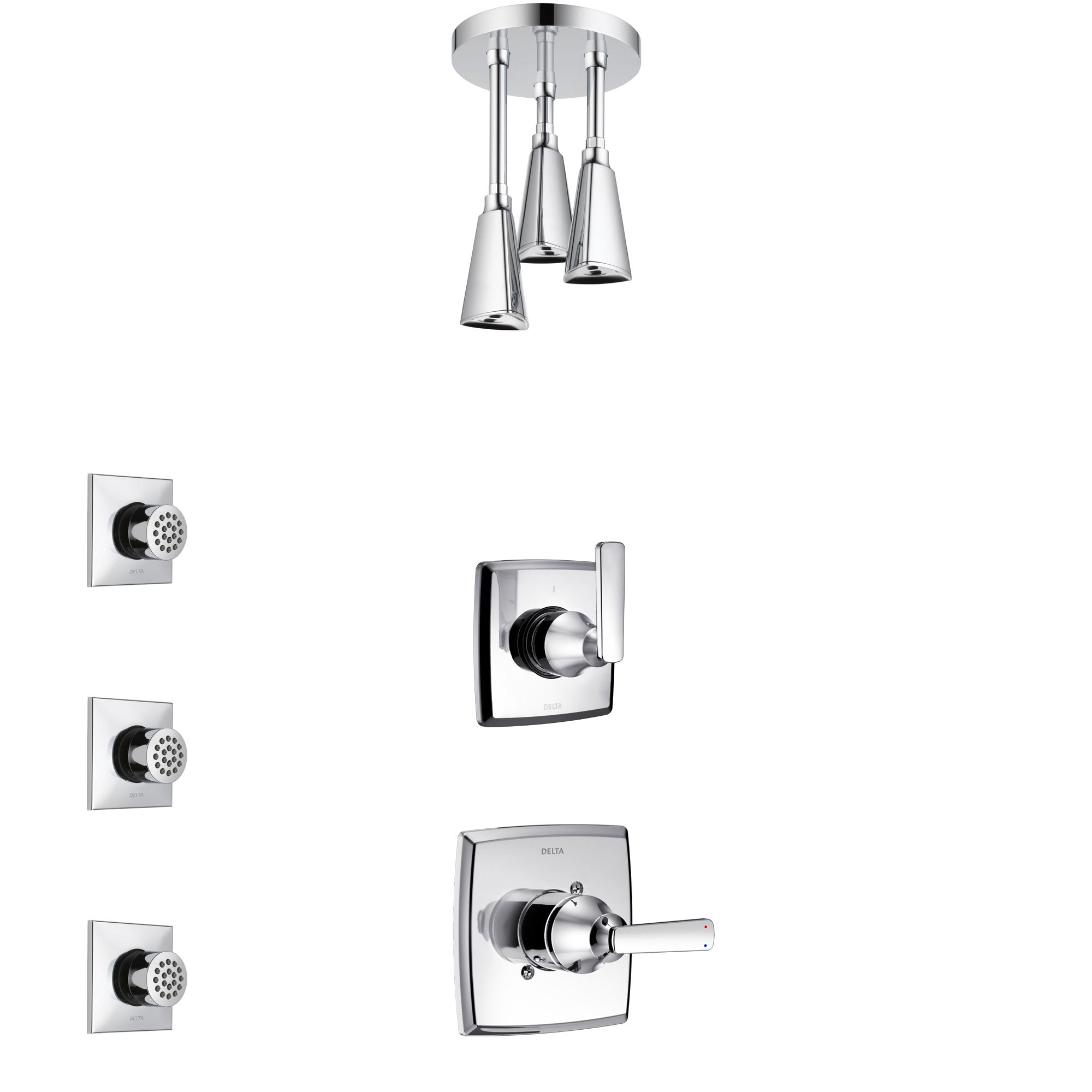 Delta Ashlyn Chrome Finish Shower System with Control Handle, 3-Setting Diverter, Ceiling Mount Showerhead, and 3 Body Sprays SS14644