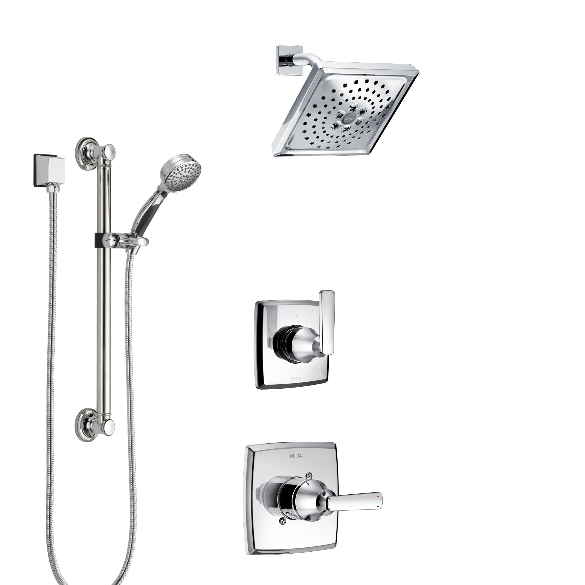 Delta Ashlyn Chrome Finish Shower System with Control Handle, 3-Setting Diverter, Showerhead, and Hand Shower with Grab Bar SS14646