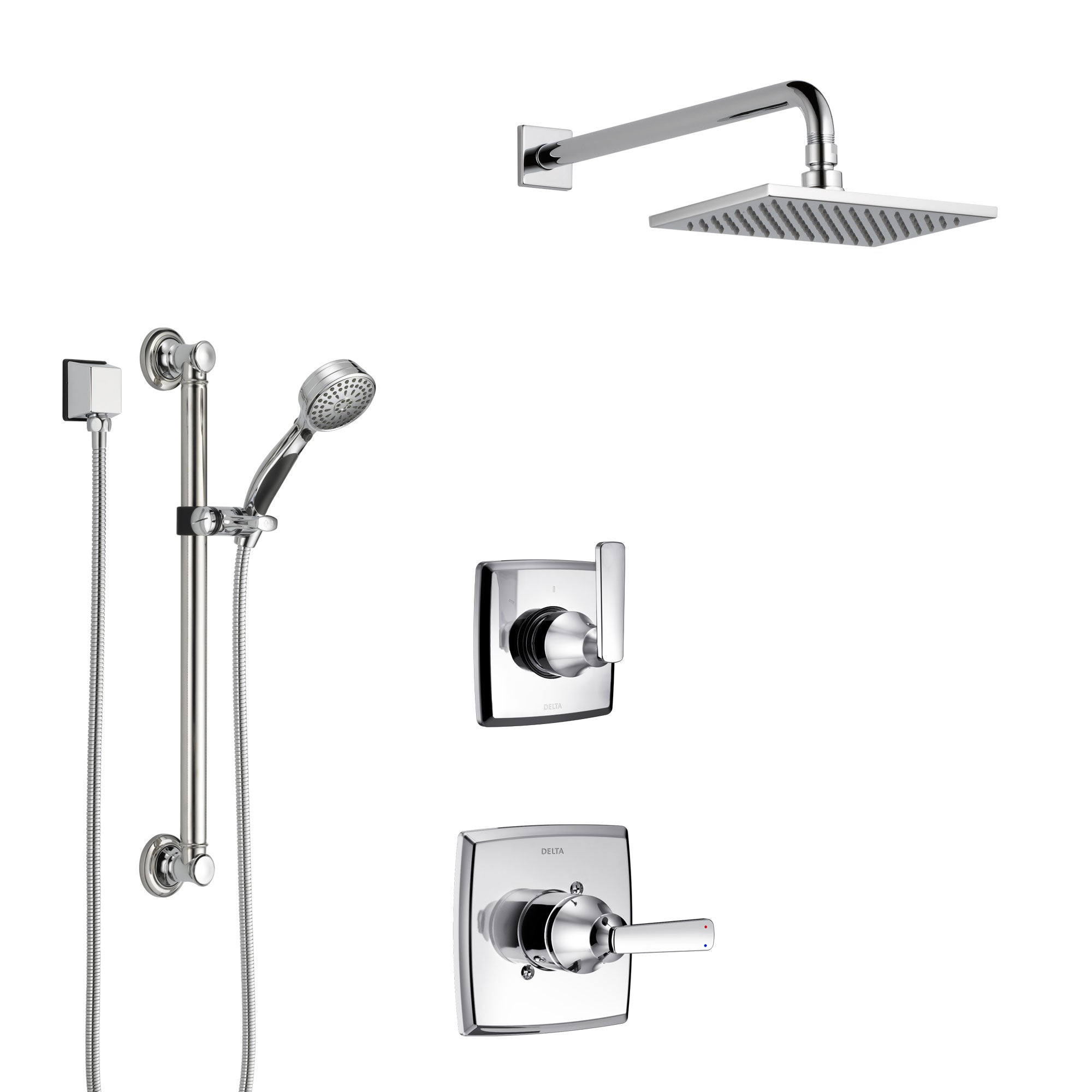 Delta Ashlyn Chrome Finish Shower System with Control Handle, 3-Setting Diverter, Showerhead, and Hand Shower with Grab Bar SS14648