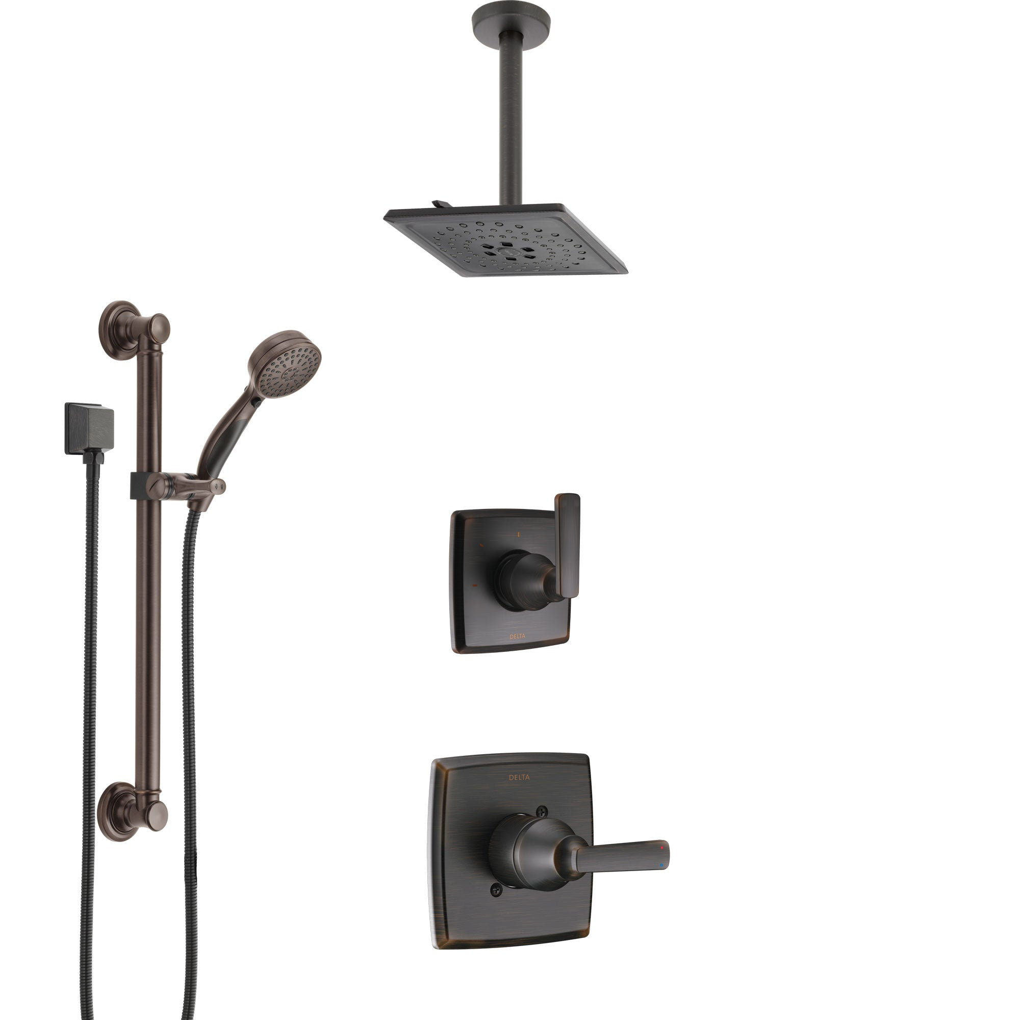 Delta Ashlyn Venetian Bronze Shower System with Control Handle, 3-Setting Diverter, Ceiling Mount Showerhead, and Hand Shower with Grab Bar SS1464RB4