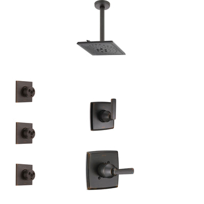 Delta Ashlyn Venetian Bronze Finish Shower System with Control Handle, 3-Setting Diverter, Ceiling Mount Showerhead, and 3 Body Sprays SS1464RB5