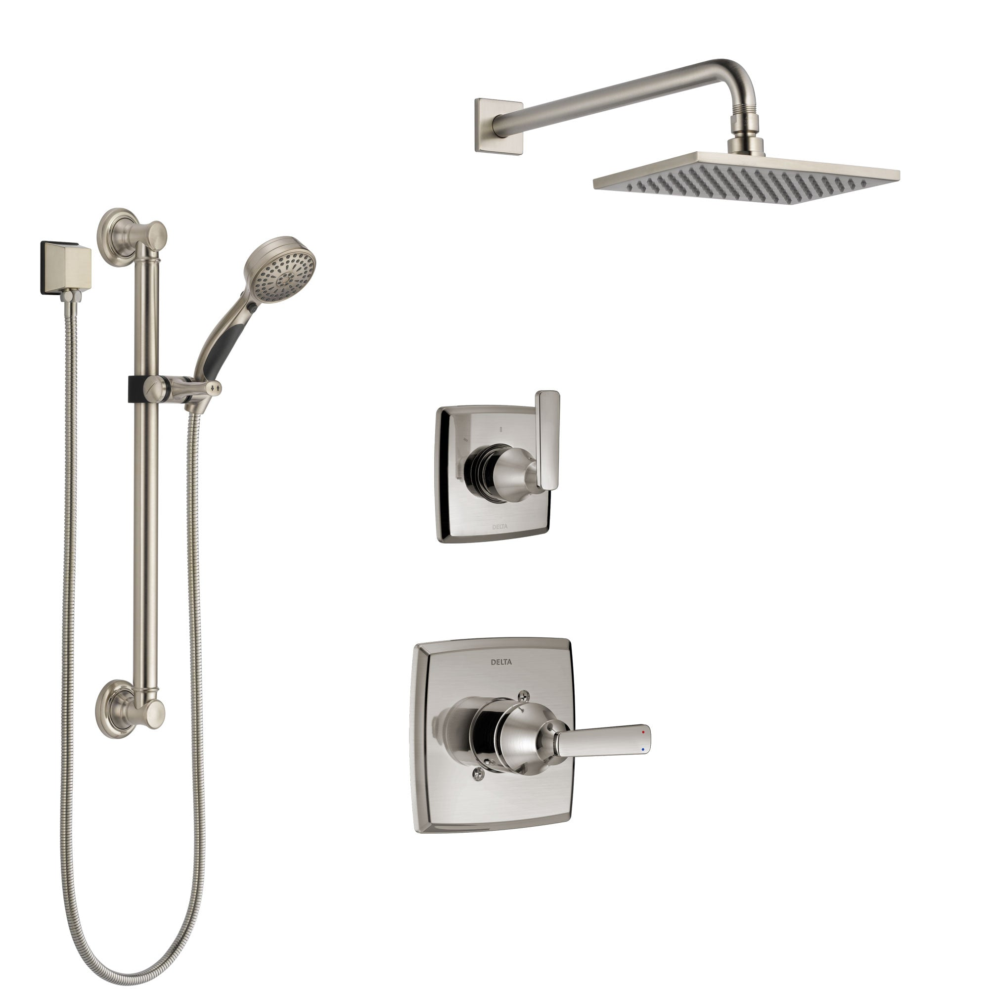 Delta Ashlyn Stainless Steel Finish Shower System with Control Handle, 3-Setting Diverter, Showerhead, and Hand Shower with Grab Bar SS1464SS1