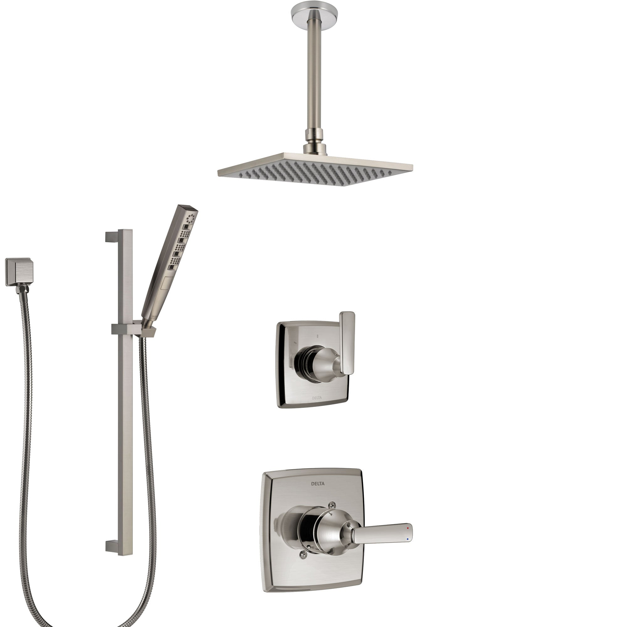 Delta Ashlyn Stainless Steel Finish Shower System with Control Handle, Diverter, Ceiling Mount Showerhead, and Hand Shower with Slidebar SS1464SS5