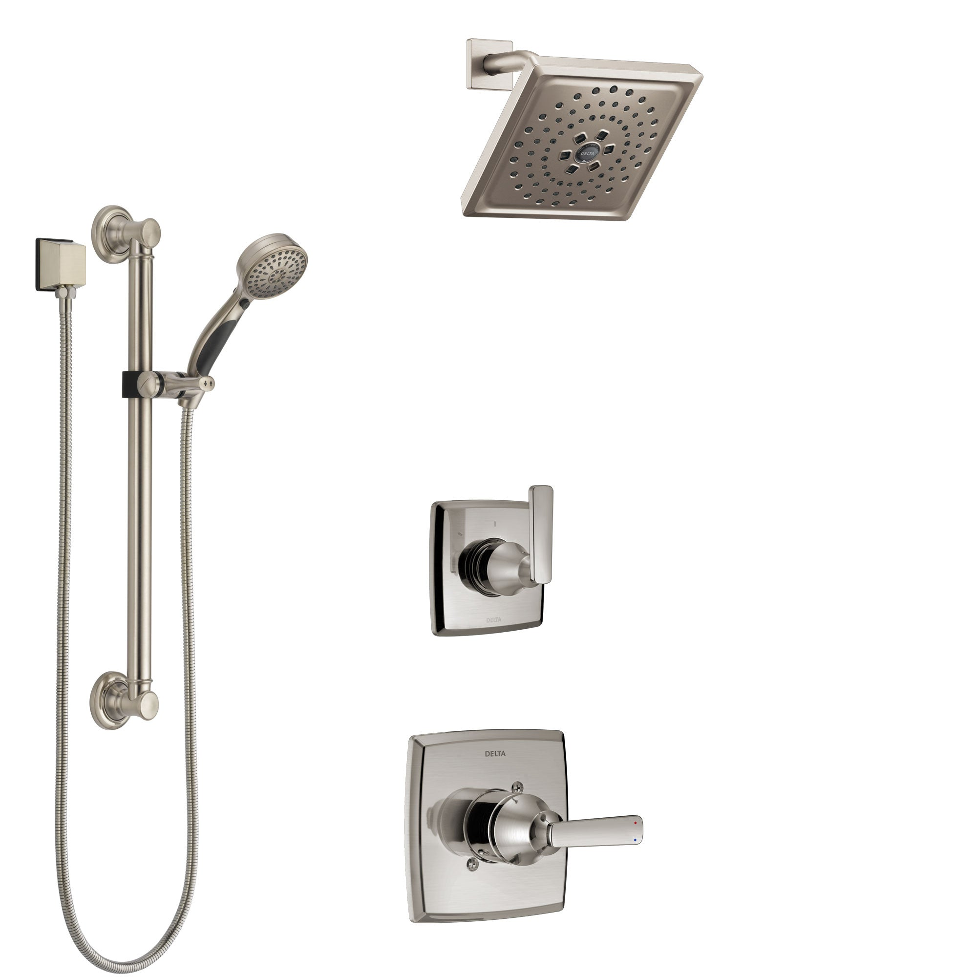 Delta Ashlyn Stainless Steel Finish Shower System with Control Handle, 3-Setting Diverter, Showerhead, and Hand Shower with Grab Bar SS1464SS8