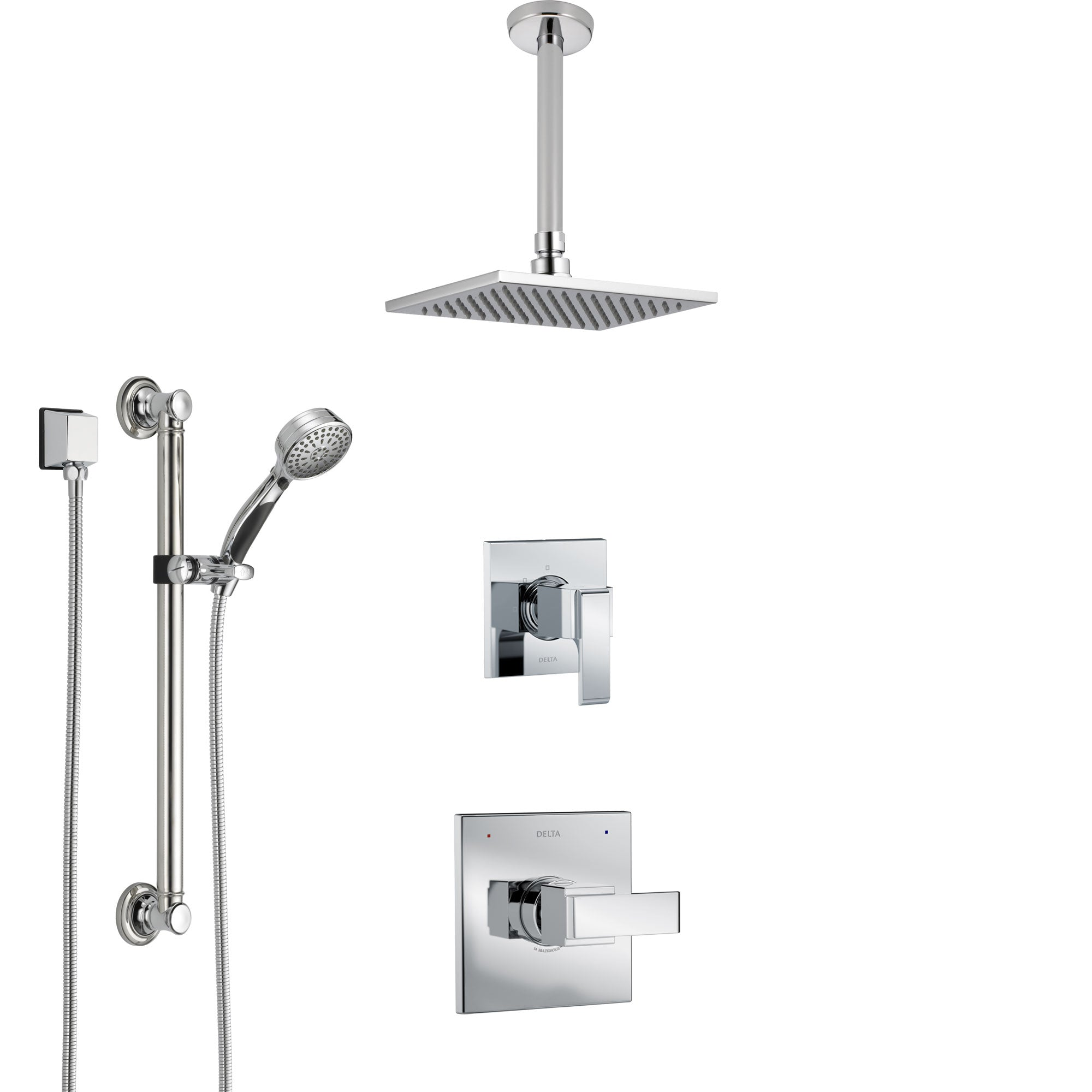 Delta Ara Chrome Finish Shower System with Control Handle, 3-Setting Diverter, Ceiling Mount Showerhead, and Hand Shower with Grab Bar SS14671