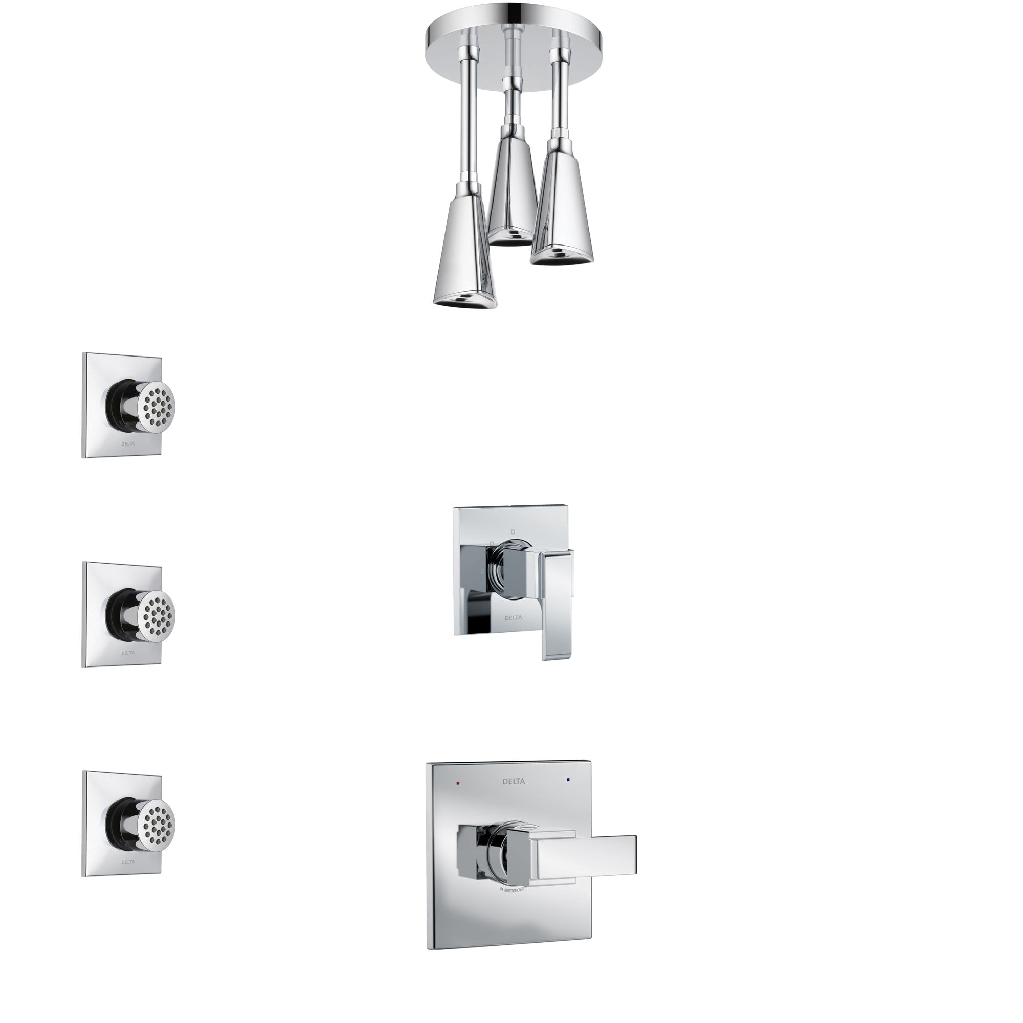 Delta Ara Chrome Finish Shower System with Control Handle, 3-Setting Diverter, Ceiling Mount Showerhead, and 3 Body Sprays SS14673