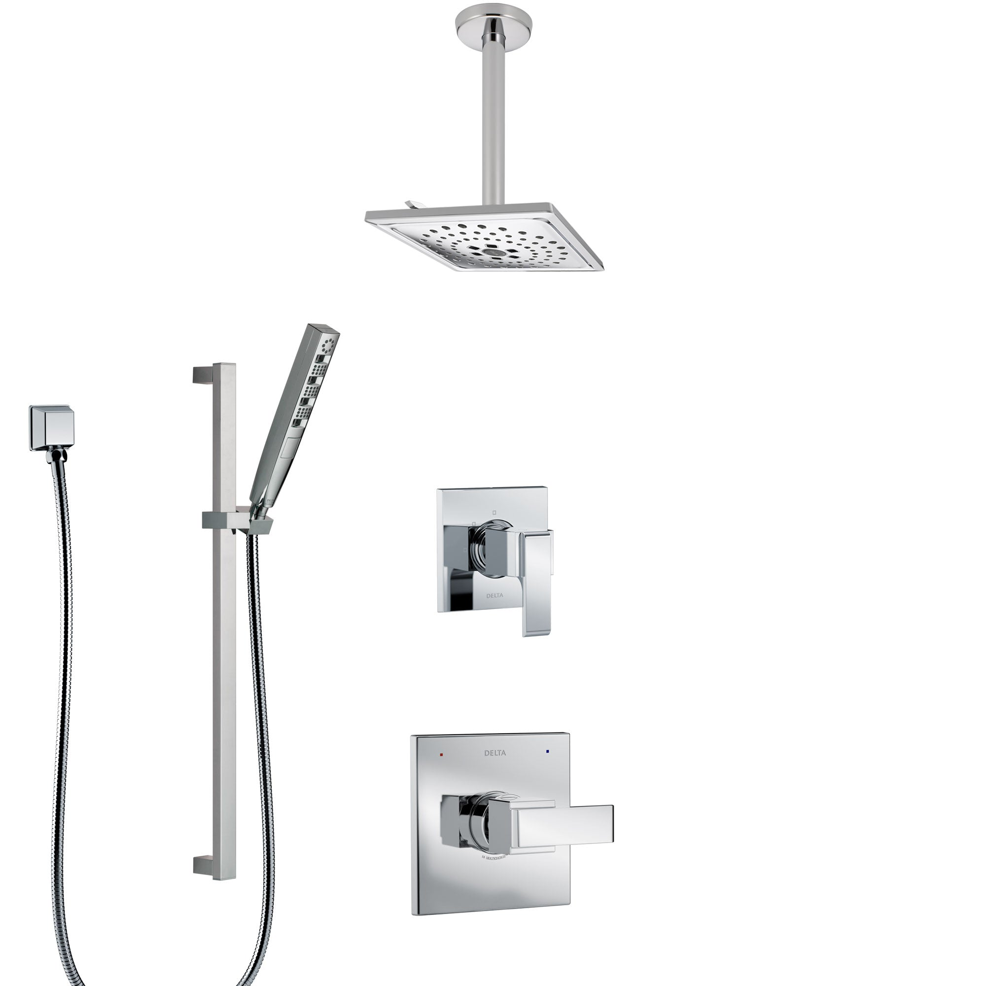 Delta Ara Chrome Finish Shower System with Control Handle, 3-Setting Diverter, Ceiling Mount Showerhead, and Hand Shower with Slidebar SS14675