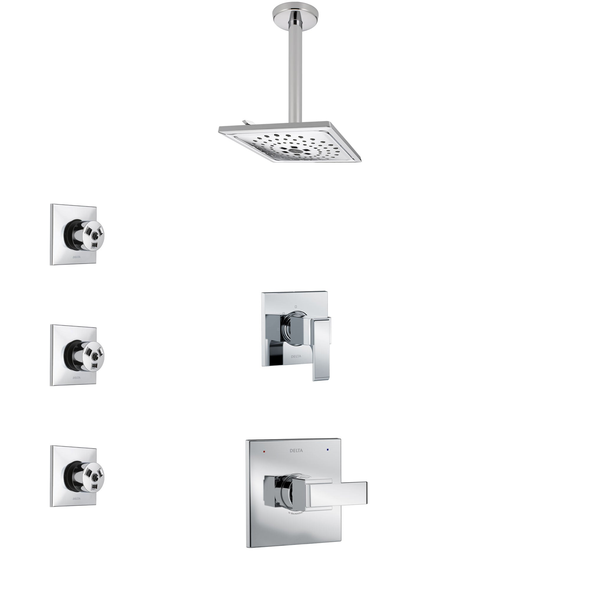 Delta Ara Chrome Finish Shower System with Control Handle, 3-Setting Diverter, Ceiling Mount Showerhead, and 3 Body Sprays SS14676