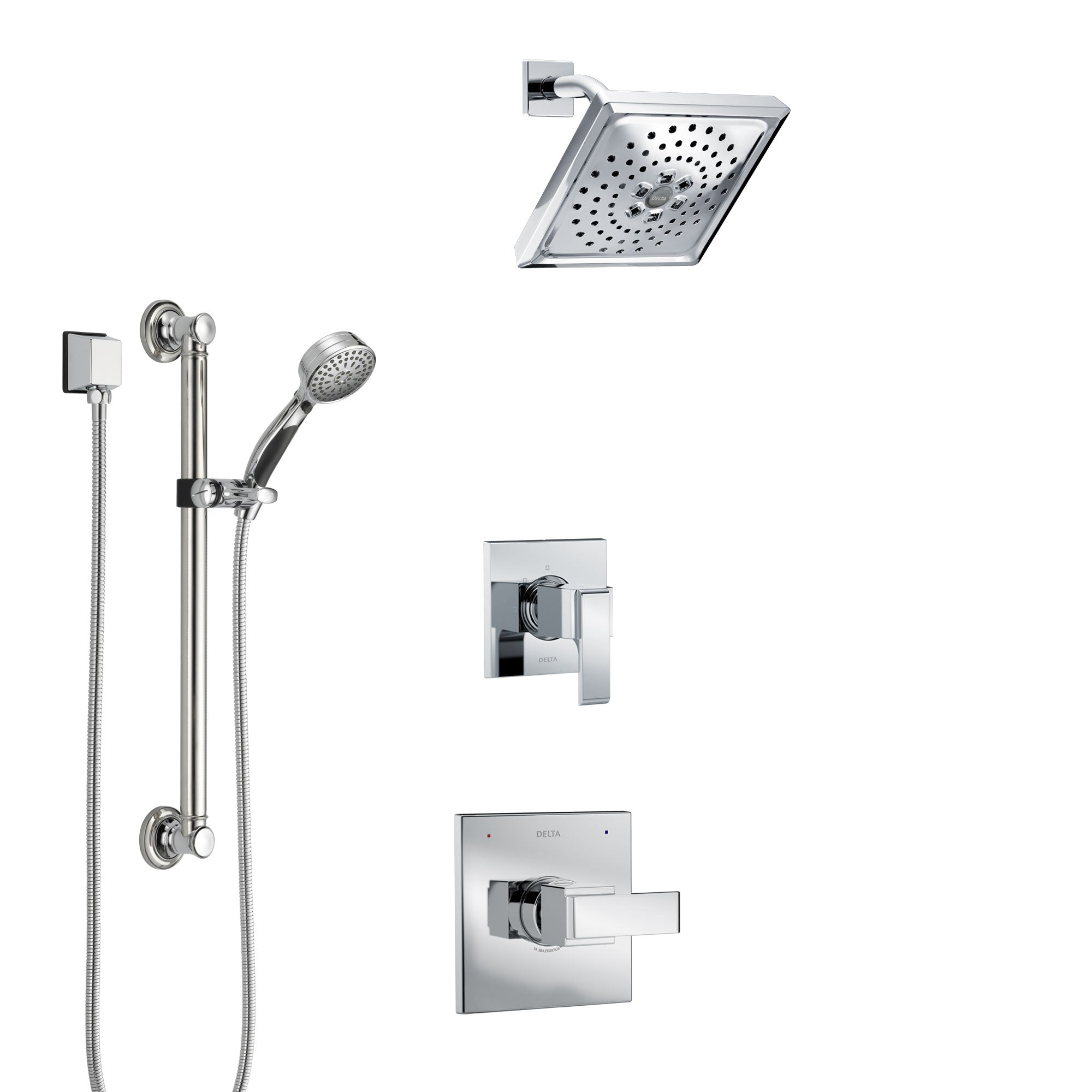 Delta Ara Chrome Finish Shower System with Control Handle, 3-Setting Diverter, Showerhead, and Hand Shower with Grab Bar SS14678