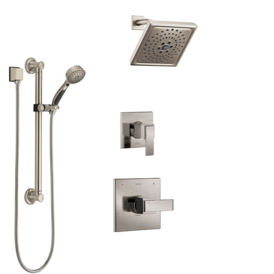 Delta Ara Stainless Steel Finish Shower System with Control Handle, 3-Setting Diverter, Showerhead, and Hand Shower with Grab Bar SS1467SS1