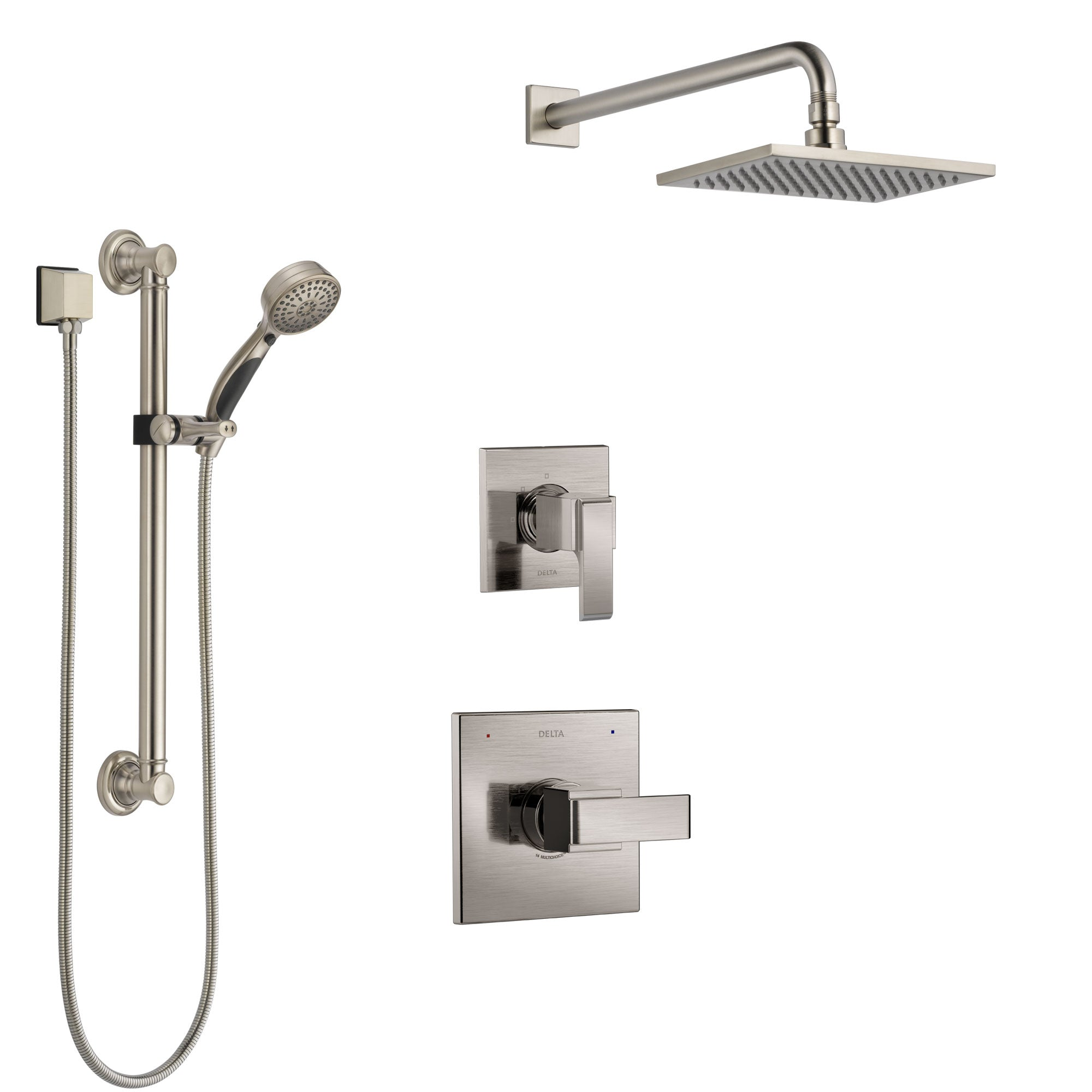 Delta Ara Stainless Steel Finish Shower System with Control Handle, 3-Setting Diverter, Showerhead, and Hand Shower with Grab Bar SS1467SS2