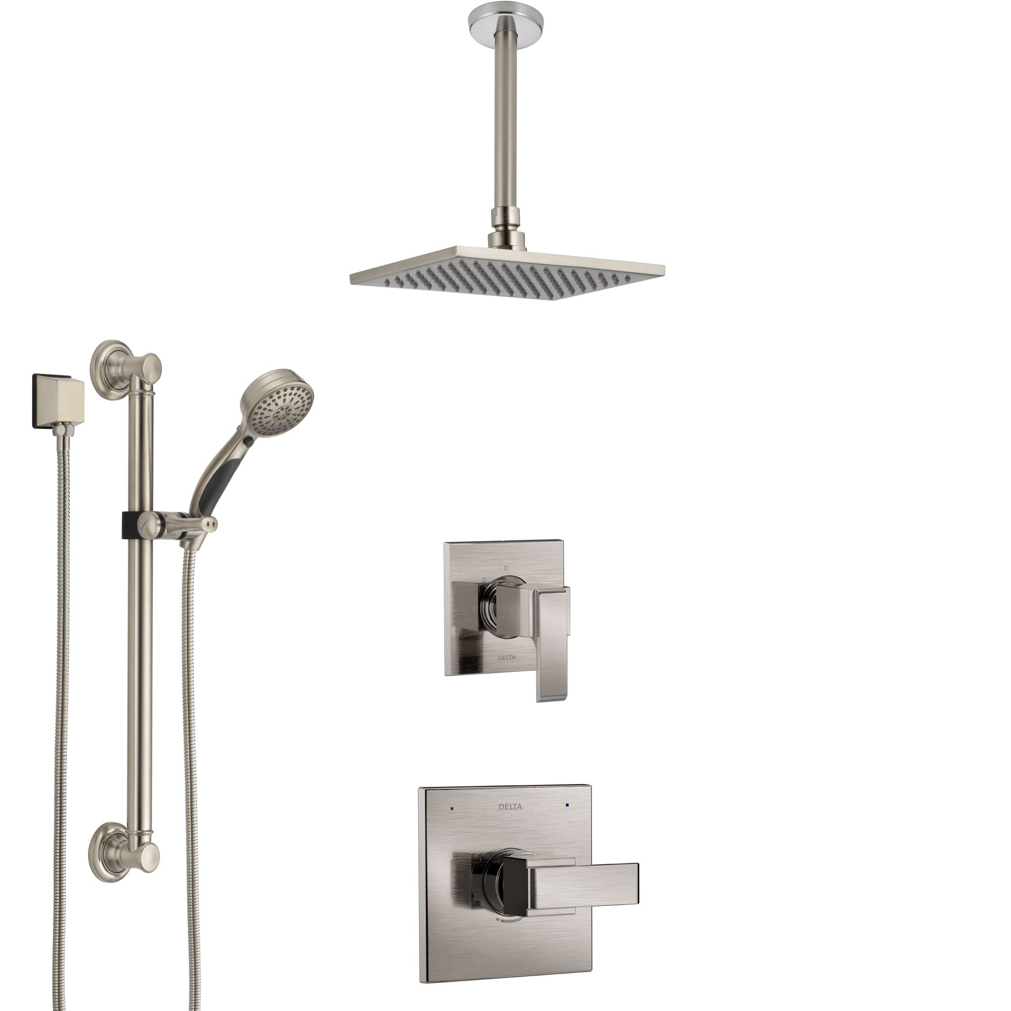 Delta Ara Stainless Steel Finish Shower System with Control Handle, Diverter, Ceiling Mount Showerhead, and Hand Shower with Grab Bar SS1467SS3