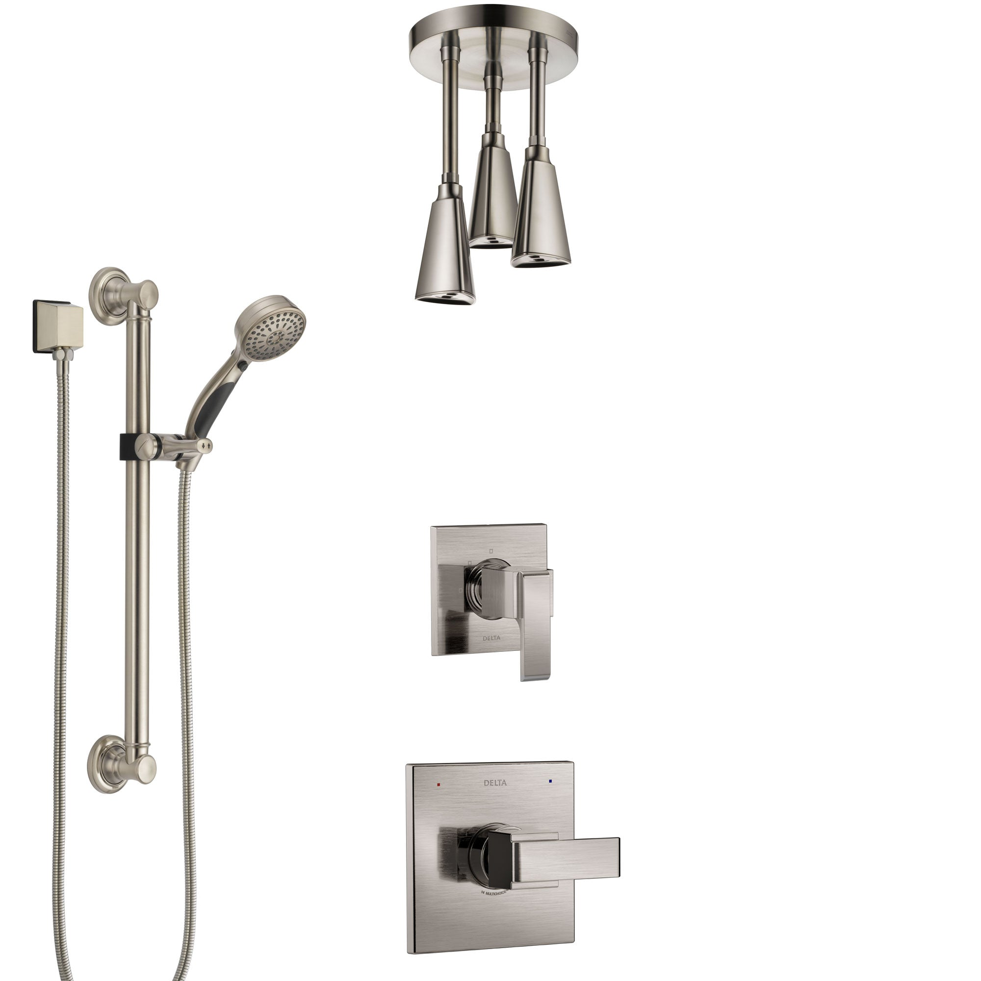 Delta Ara Stainless Steel Finish Shower System with Control Handle, Diverter, Ceiling Mount Showerhead, and Hand Shower with Grab Bar SS1467SS4