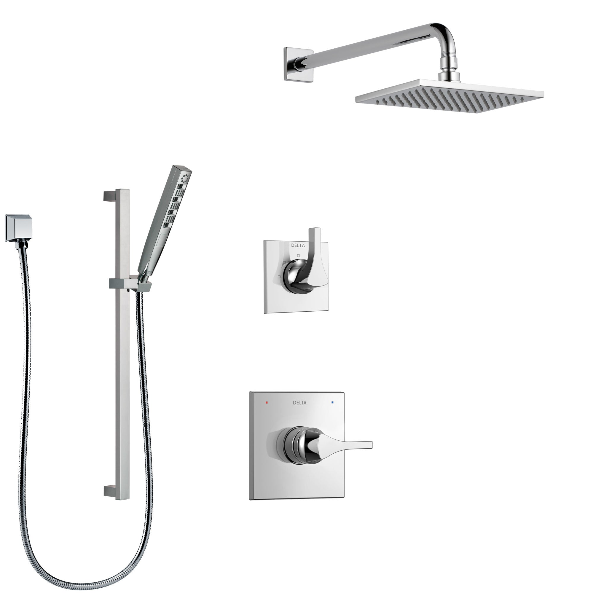 Delta Zura Chrome Finish Shower System with Control Handle, 3-Setting Diverter, Showerhead, and Hand Shower with Slidebar SS14741