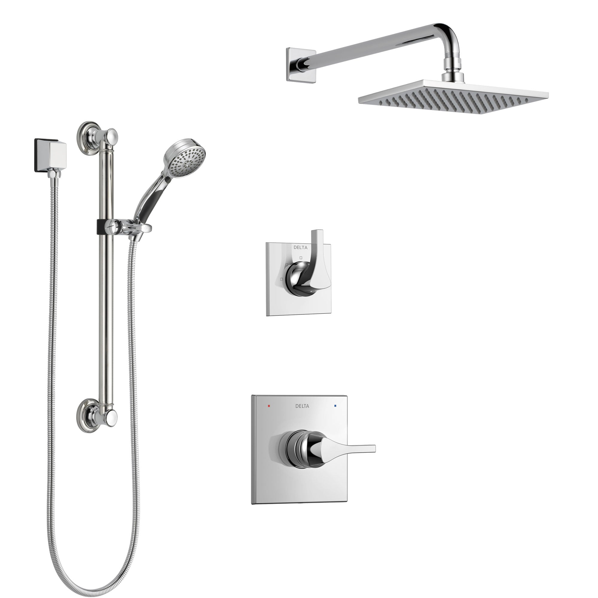 Delta Zura Chrome Finish Shower System with Control Handle, 3-Setting Diverter, Showerhead, and Hand Shower with Grab Bar SS14742