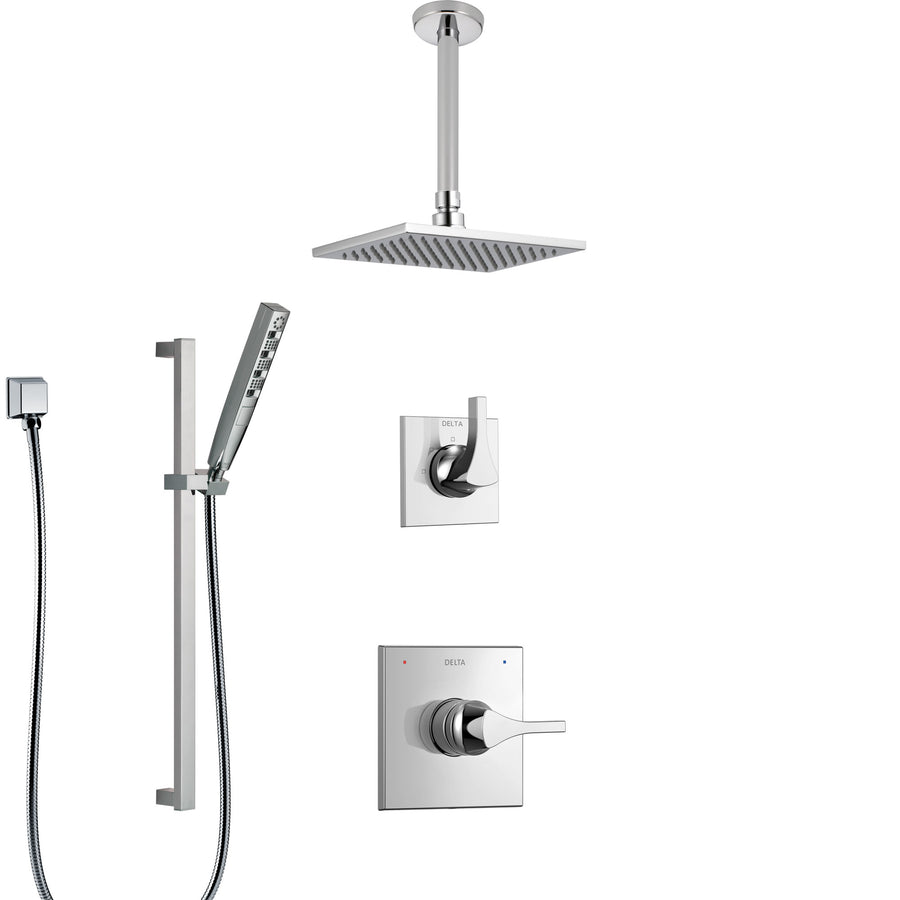 Delta Zura Chrome Finish Shower System With Control Handle, 3 Setting  Diverter, Ceiling