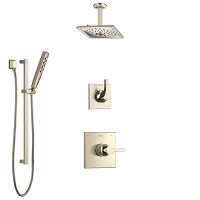 Delta Zura Polished Nickel Shower System with Control Handle, 3-Setting Diverter, Ceiling Mount Showerhead, and Hand Shower with Slidebar SS1474PN1