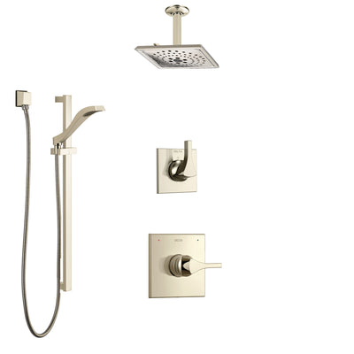 Delta Zura Polished Nickel Shower System with Control Handle, 3-Setting Diverter, Ceiling Mount Showerhead, and Hand Shower with Slidebar SS1474PN3
