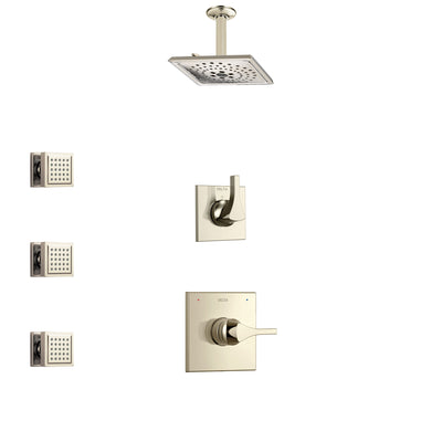 Delta Zura Polished Nickel Finish Shower System with Control Handle, 3-Setting Diverter, Ceiling Mount Showerhead, and 3 Body Sprays SS1474PN4