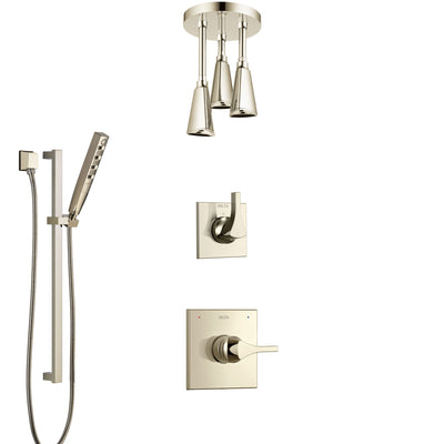 Delta Zura Polished Nickel Shower System with Control Handle, 3-Setting Diverter, Ceiling Mount Showerhead, and Hand Shower with Slidebar SS1474PN6