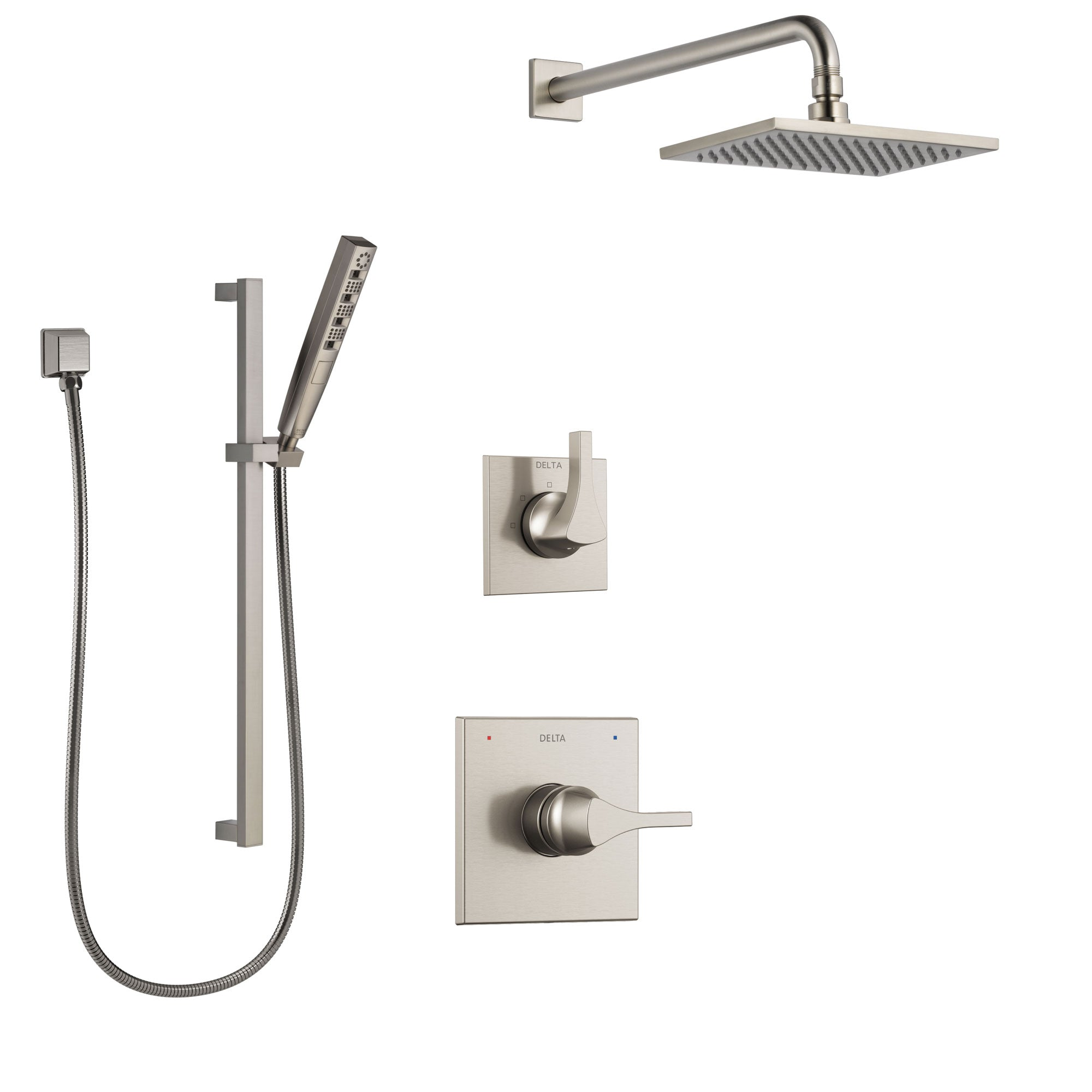 Delta Zura Stainless Steel Finish Shower System with Control Handle, 3-Setting Diverter, Showerhead, and Hand Shower with Slidebar SS1474SS2