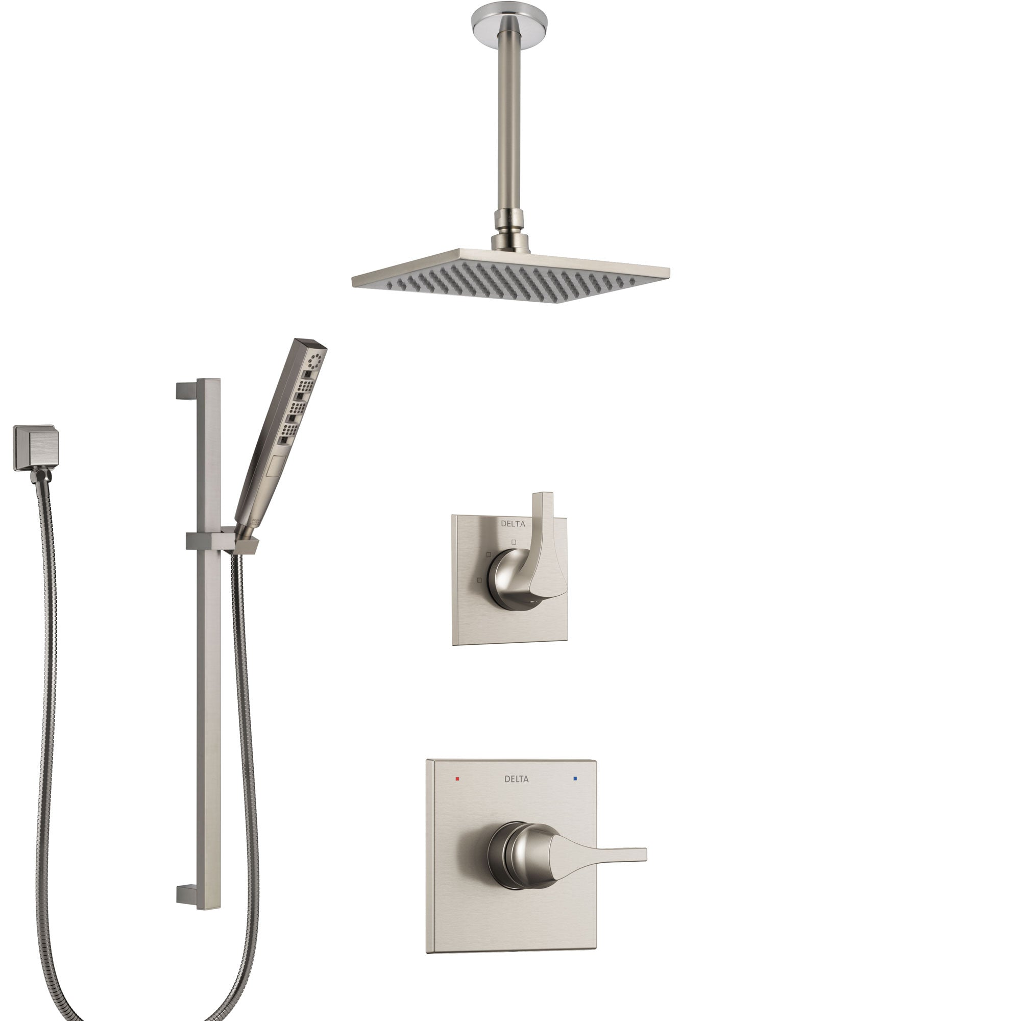 Delta Zura Stainless Steel Finish Shower System with Control Handle, Diverter, Ceiling Mount Showerhead, and Hand Shower with Slidebar SS1474SS3