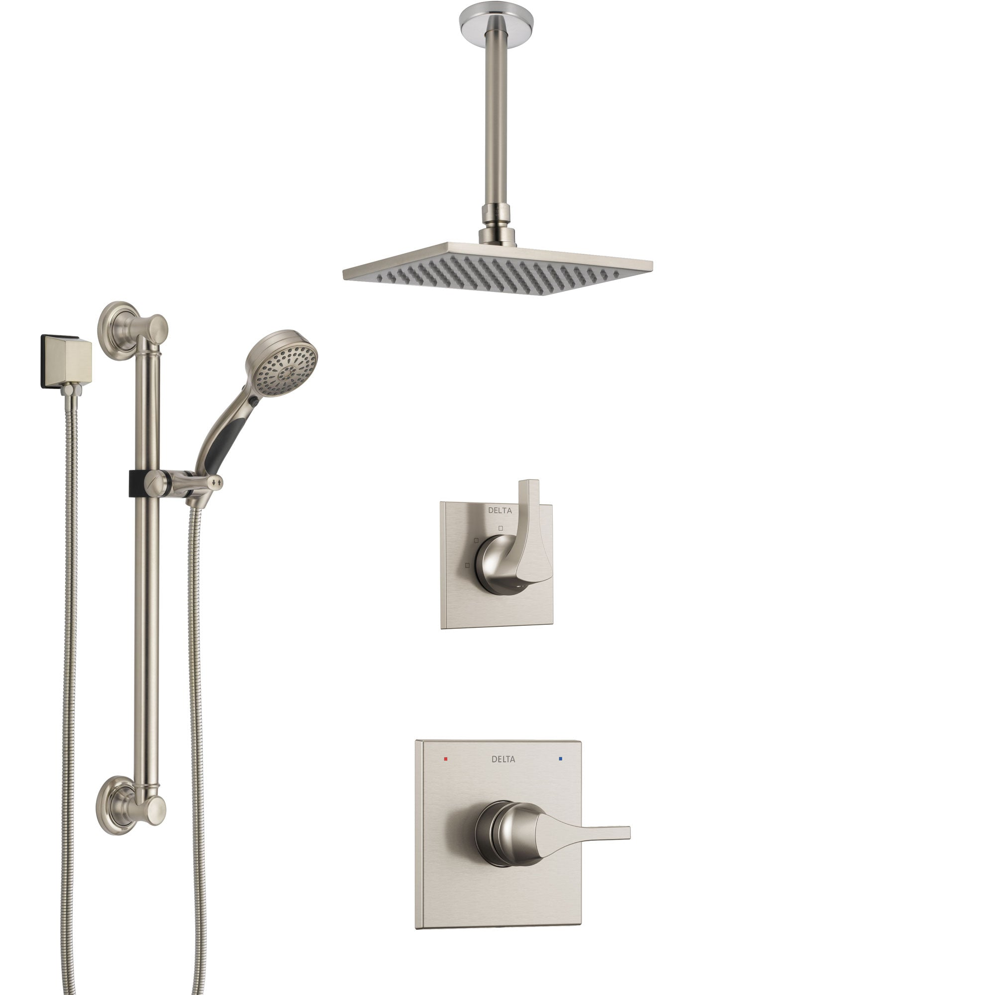 Delta Zura Stainless Steel Finish Shower System with Control Handle, Diverter, Ceiling Mount Showerhead, and Hand Shower with Grab Bar SS1474SS4